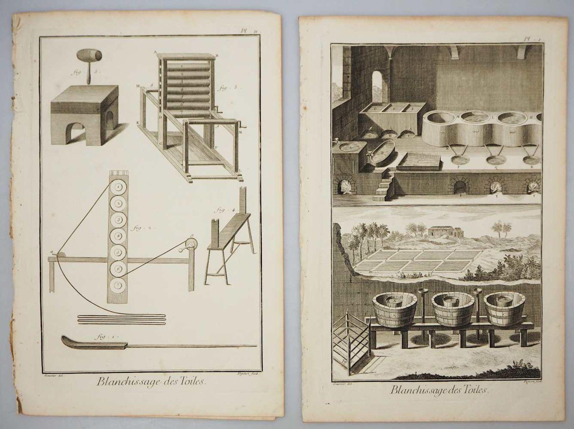 """2 Kupferstiche """"Blanchissage des Toiles (Waschen und Bleichen von Leinen)"""" L.u. bez. GOUSSIE"""