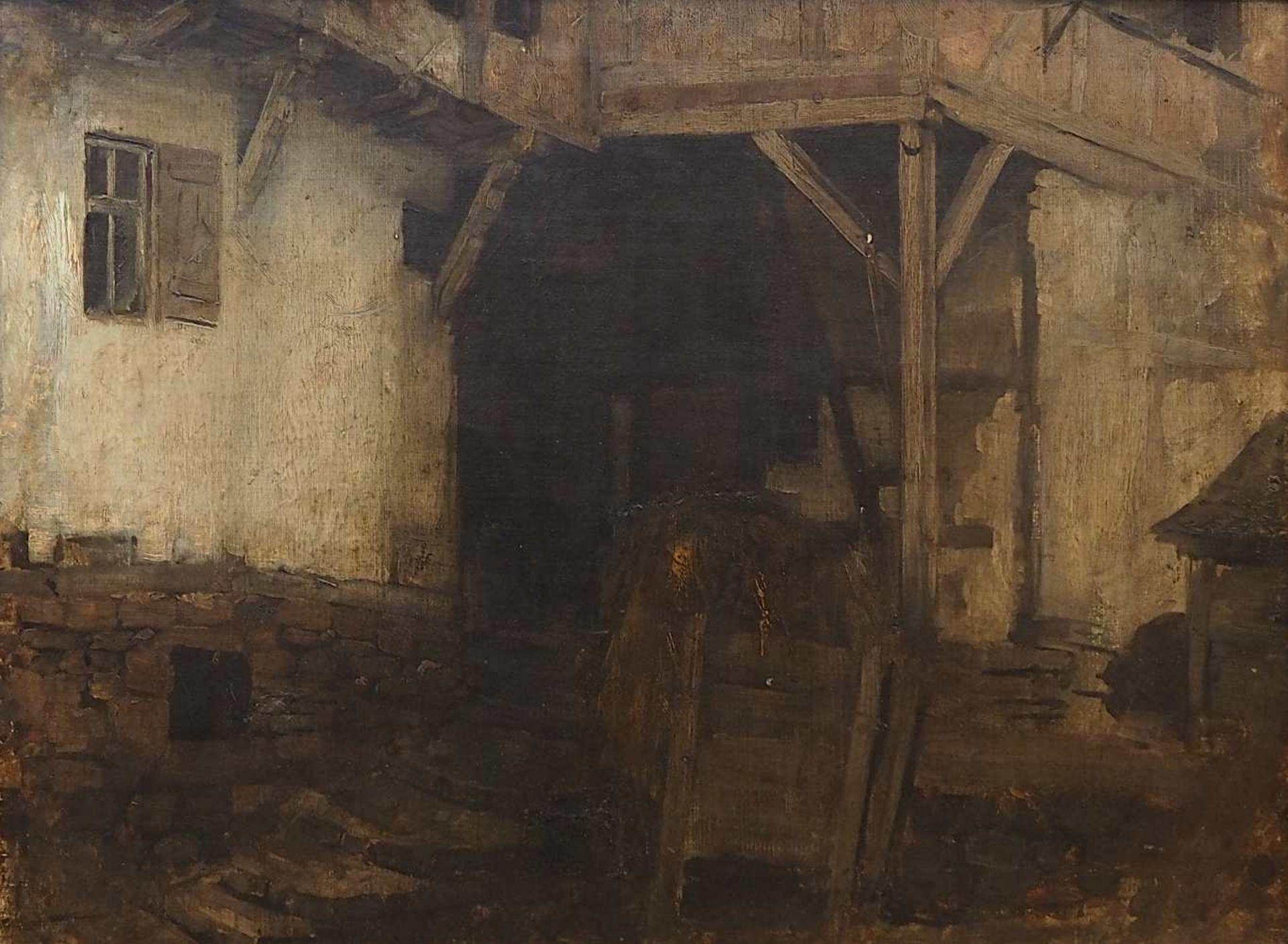 """1 Ölgemälde R.u. sign. J. SPERL (wohl Johann S. 1840-1914), """"Blick in die Scheune"""","""