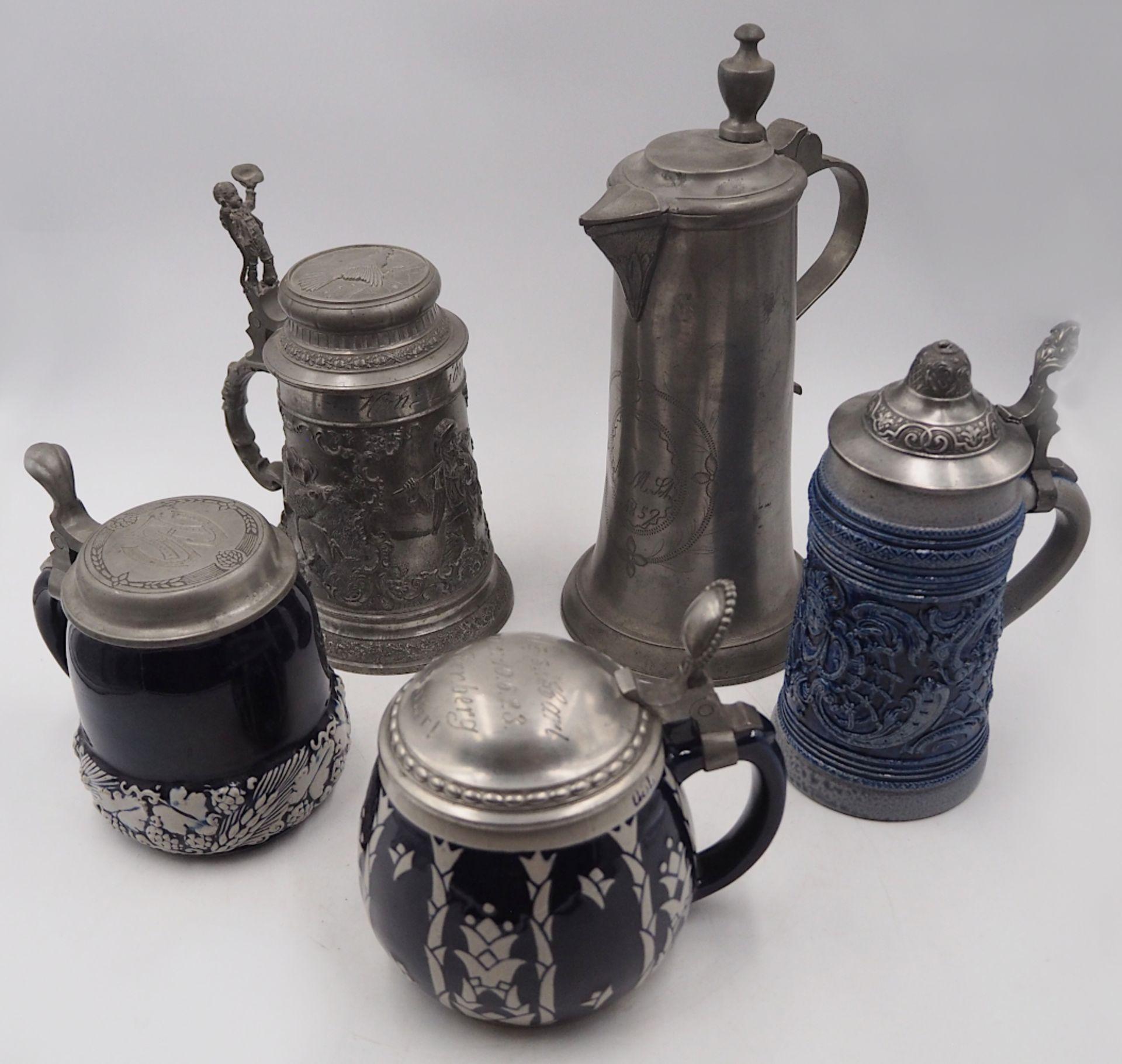 1 Konv. Bierkrüge z.T. 1. Hälfte 20. Jh. Glas/Keramik/Zinn, je mit Zinndeckel, z.T.
