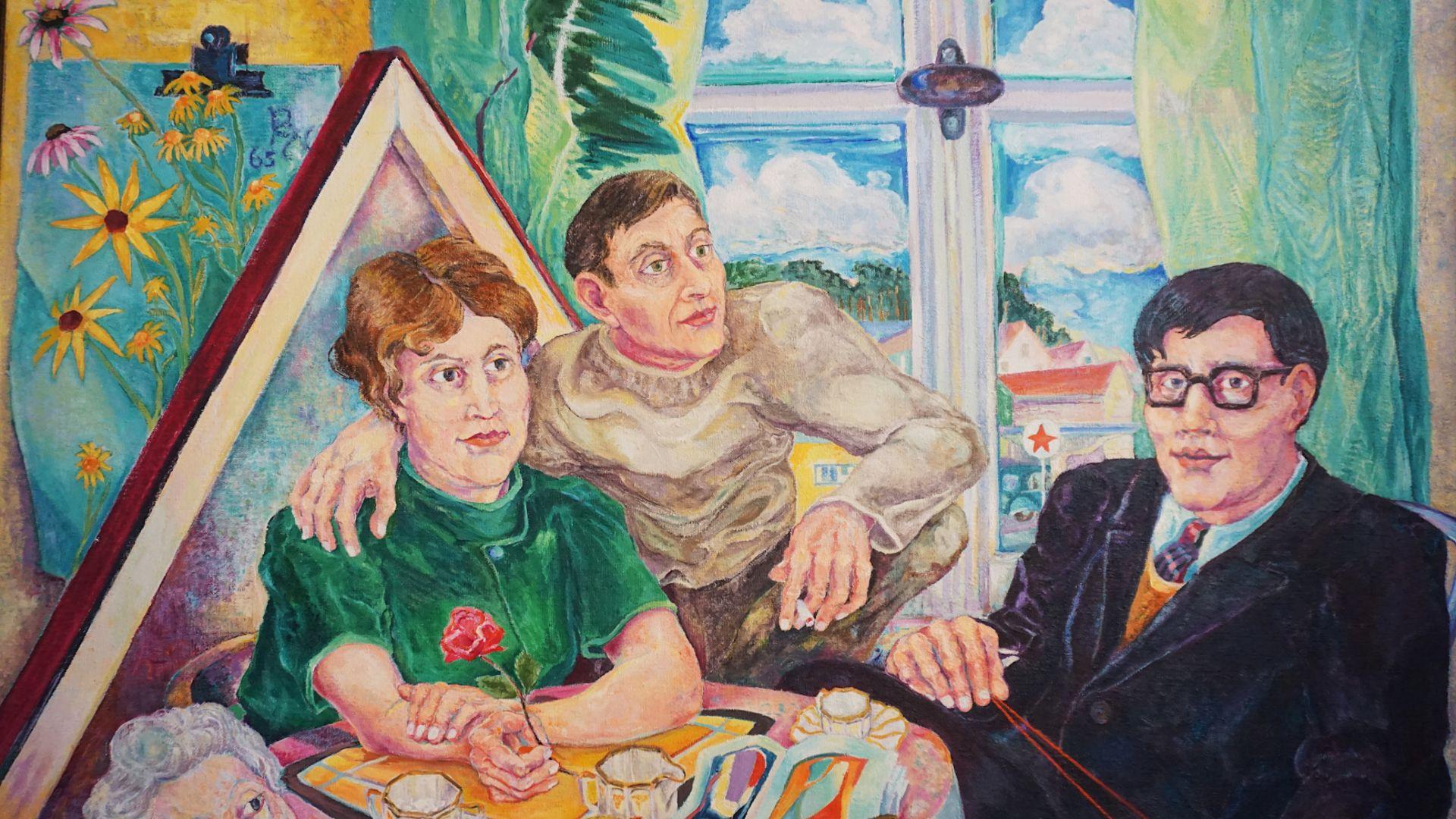 """1 Ölgemälde """"Besuch bei Familie Nodnagel"""" L.o. monogr. PN (wohl Paul Heinreich NODNA - Bild 2 aus 6"""