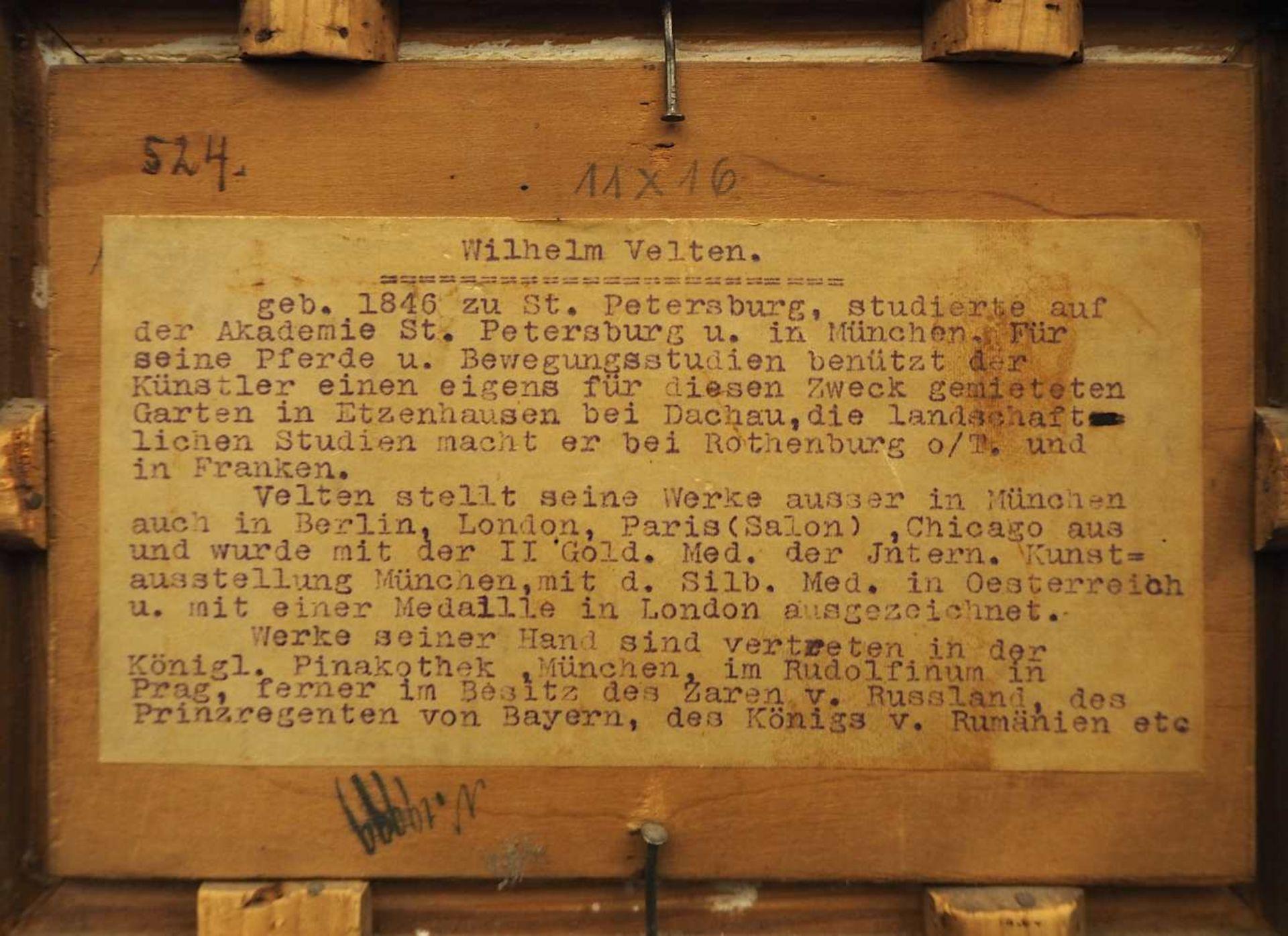 """1 Ölgemälde """"Parforcejagd"""" R.u. sign./auf Ra. bezeichnet W. VELTEN (wohl Wilhelm V. - Bild 5 aus 5"""