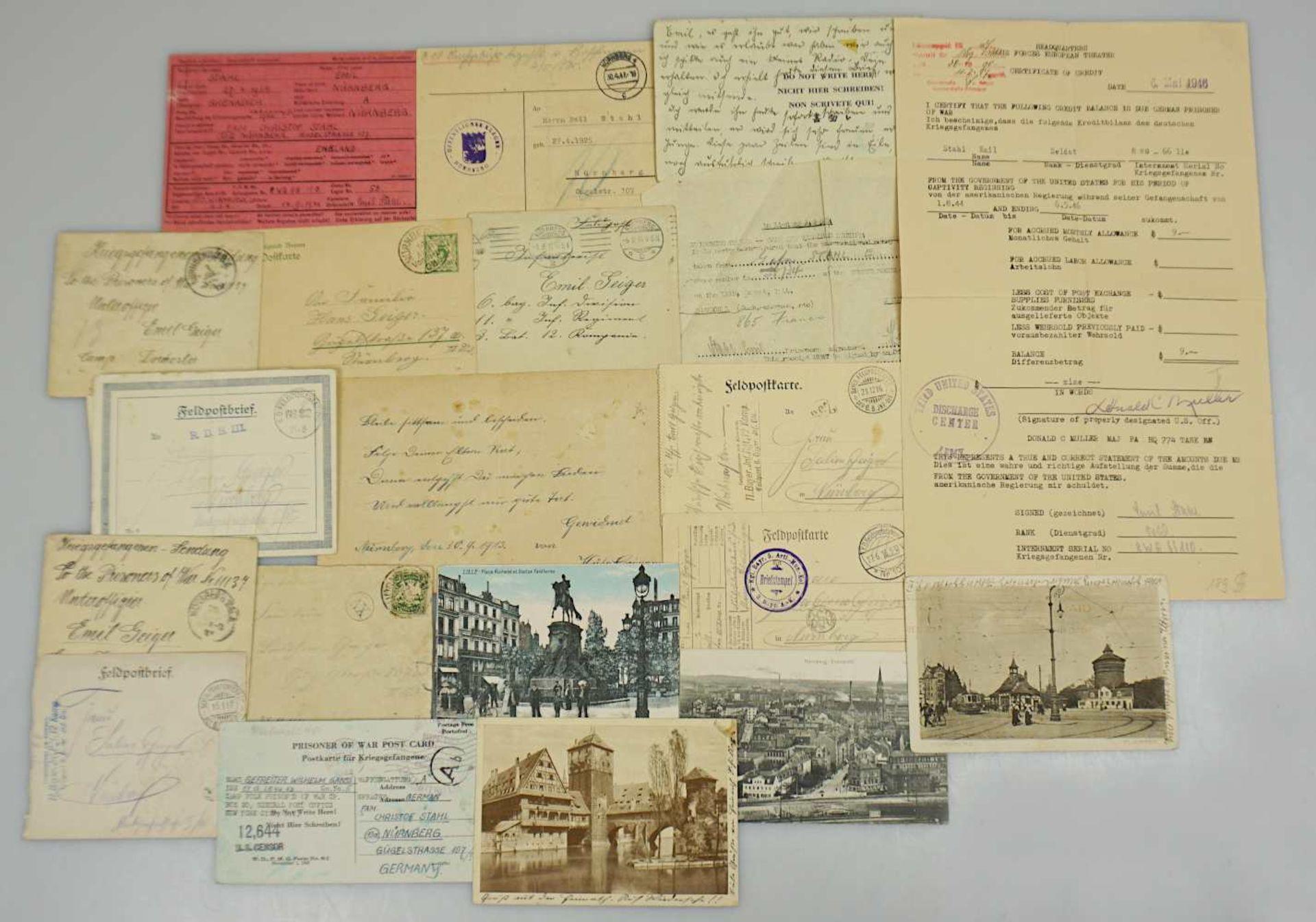 1 Konv. Feldpostbriefe/-karte 2. WK des Unteroffiziers Emil GEIGER und des Grenadiers