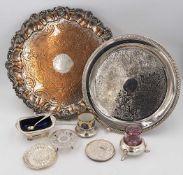 1 Konv. Metallobjekte versilbert 20. Jh., z.T. WELLNER: Platten, Salzfässchen, Unters