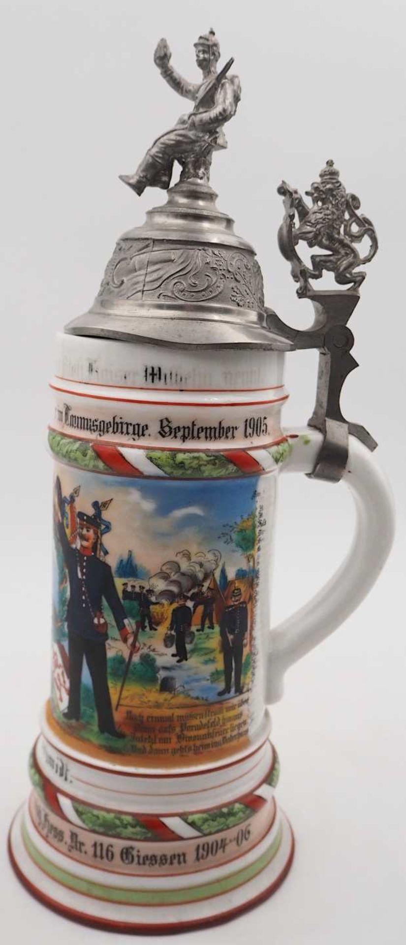 """1 Reservistenkrug Porzellan bezeichnet """"5. Comp. Inft. Regt. Kaiser Wilh. 2. Großh. Hess. Nr. 1 - Bild 5 aus 7"""