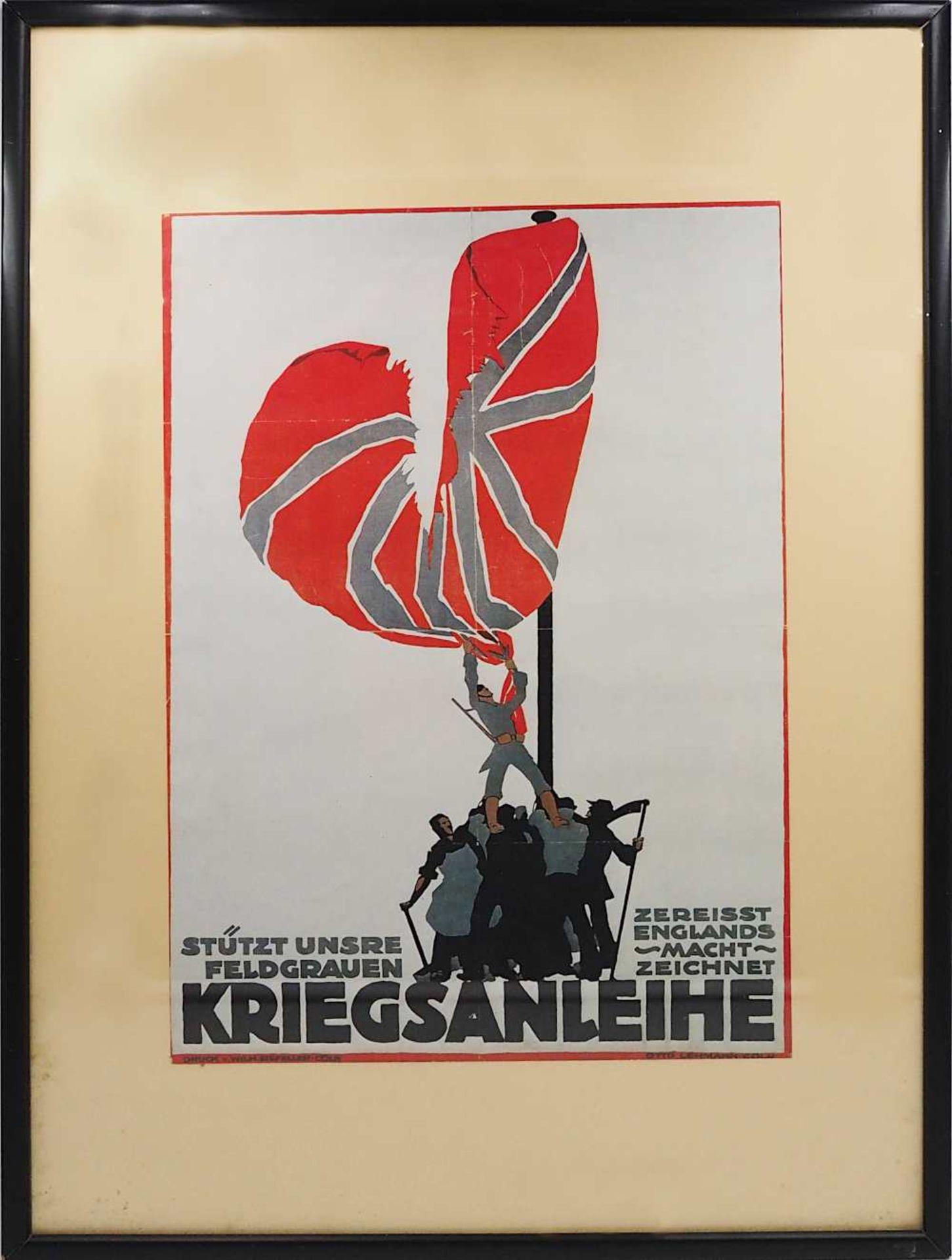 """1 Kopie der Lithographie """"Stützt unsere Feldgrauen/Zerreisst Englands Macht/Zeichnet Kriegsanle"""