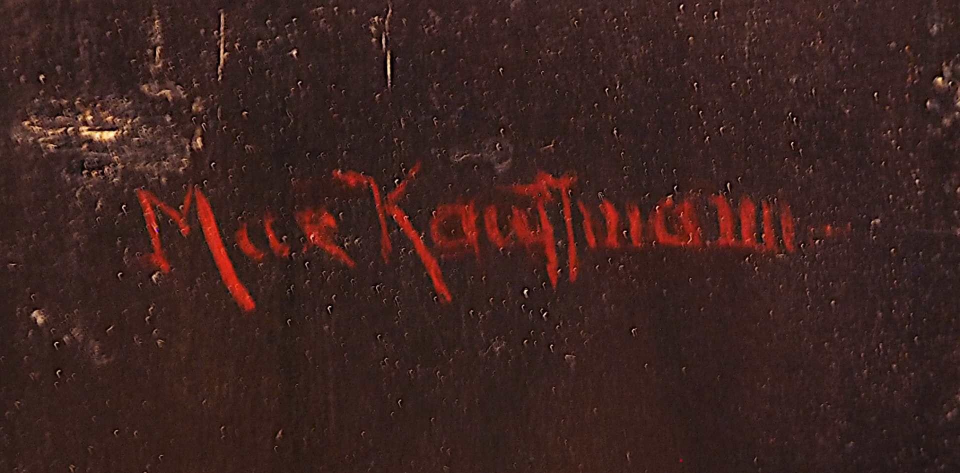"""1 Ölgemälde """"Tiroler Bauer mit Korbflasche"""" R.o. sign. Max KAUFFMANN (wohl 1846-1913 - Bild 3 aus 5"""