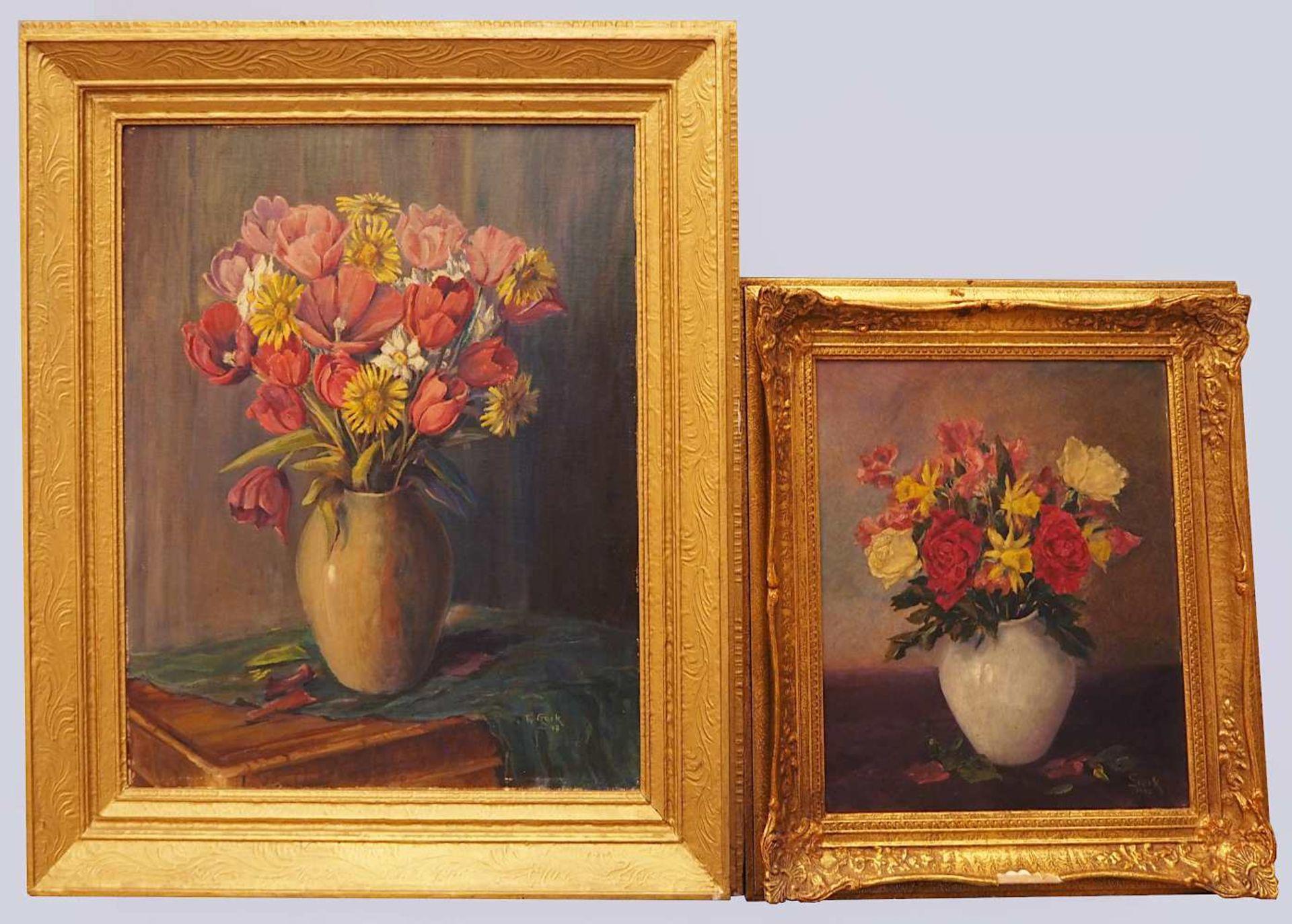 """1 Konv. Ölgemälde 20. Jh. versch. Künstler und Motive, z.T. unsigniert u.a. """"Blumen - Bild 3 aus 6"""