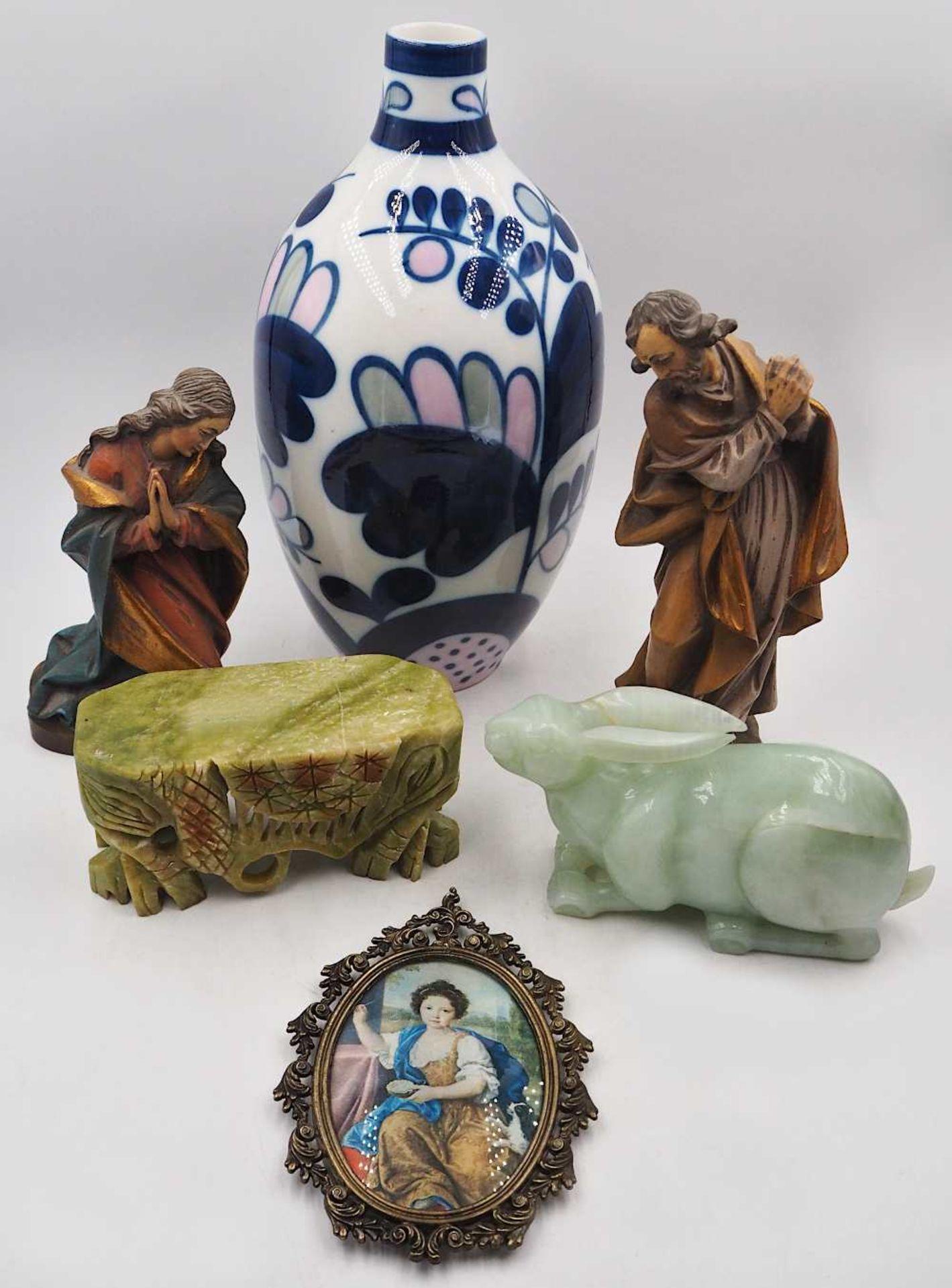"""1 Konv. Sammlungsgegenstände 20. Jh.: 1 Holzfigur/Wandapplike """"Madonna mit Kind"""" H ca - Bild 2 aus 2"""