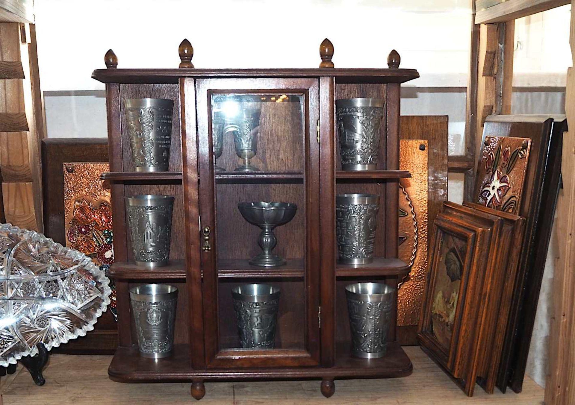 1 Konv. Messing-/Kupferobjekte nztl.: Kannen, Töpfe, Tischaufsätze, Schreibsets, u.a., bis H c - Bild 4 aus 8