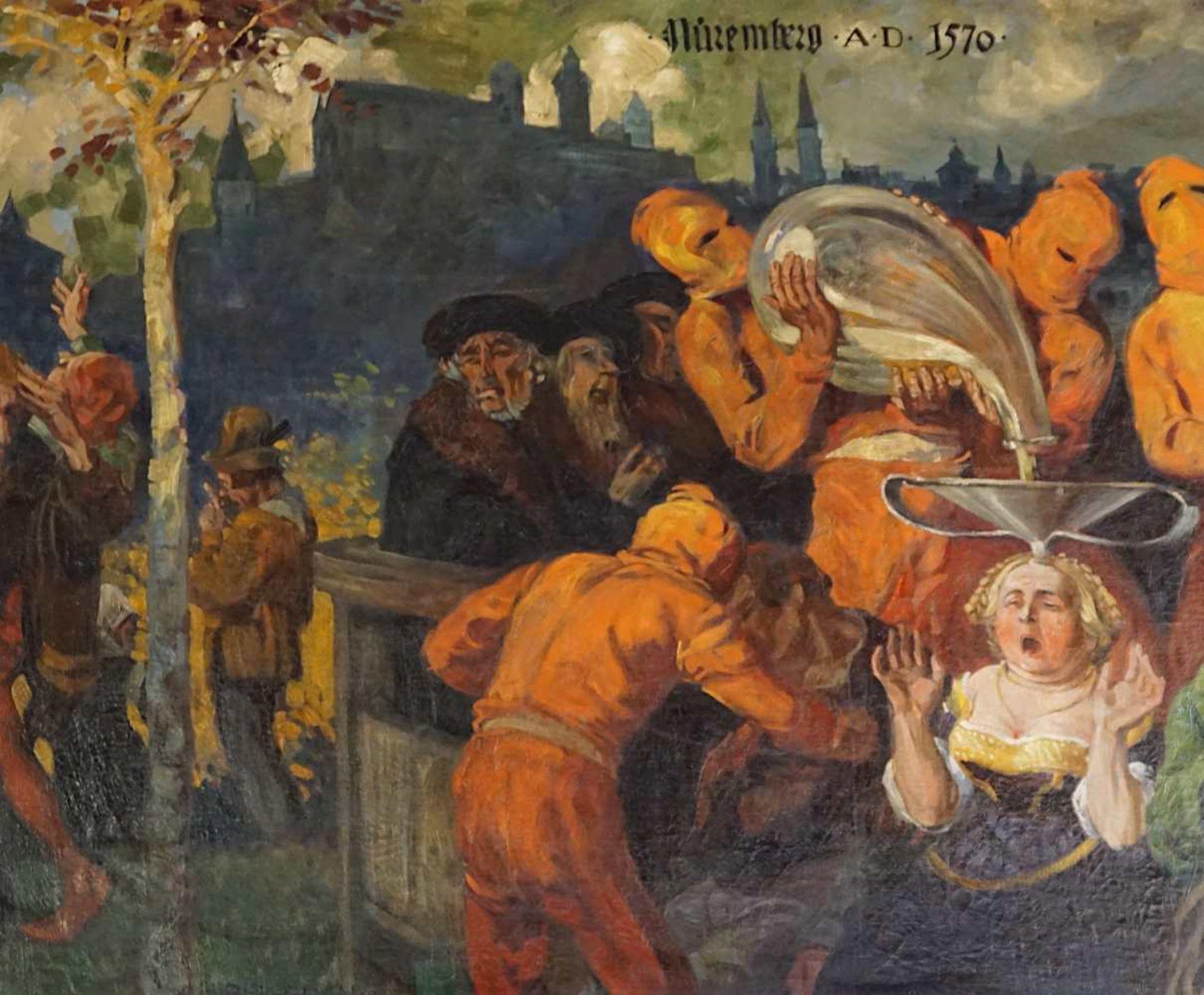"""1 Ölgemälde """"Das Nueremperger Trichterlin (...)"""" L.u. sign. H. BEK-GRAN (wohl Herman - Bild 2 aus 2"""