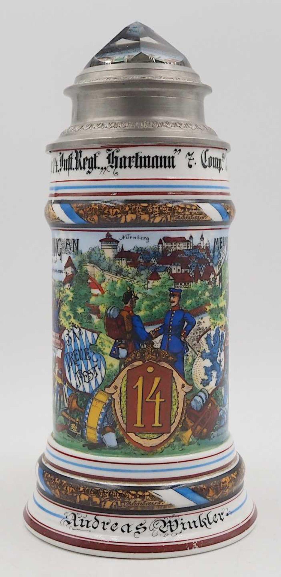 "1 Reservistenkrug ""Kgl. bayr. 14. Inft. Regt. ""Hartmann"" 7. Comp. Nürnberg 1904-06"" W"