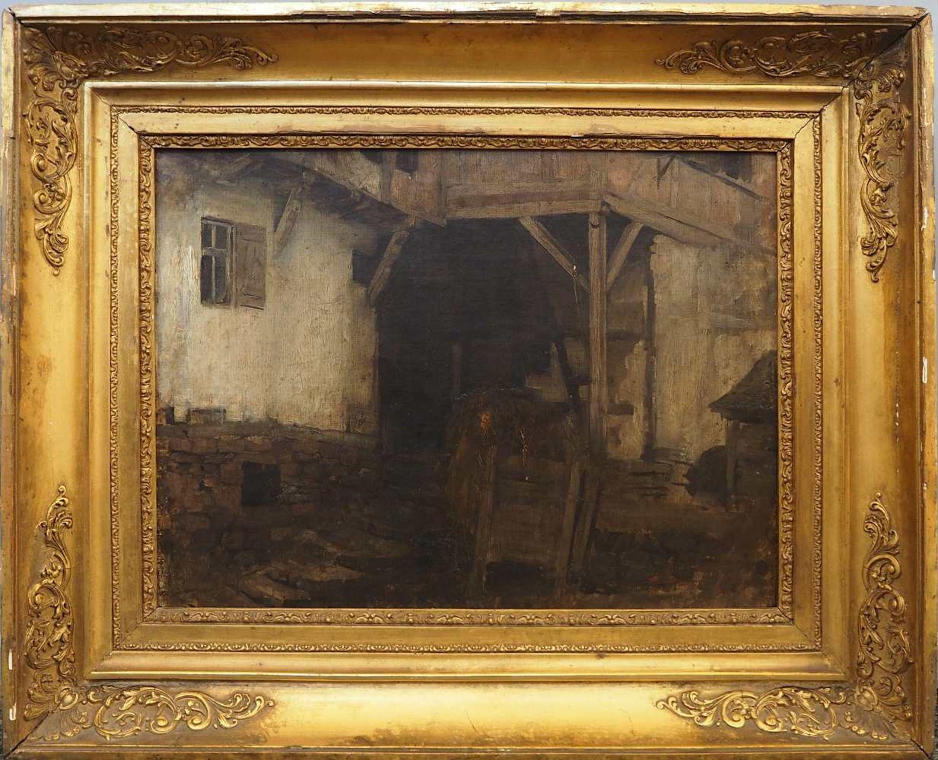 """1 Ölgemälde R.u. sign. J. SPERL (wohl Johann S. 1840-1914), """"Blick in die Scheune"""", - Bild 4 aus 8"""
