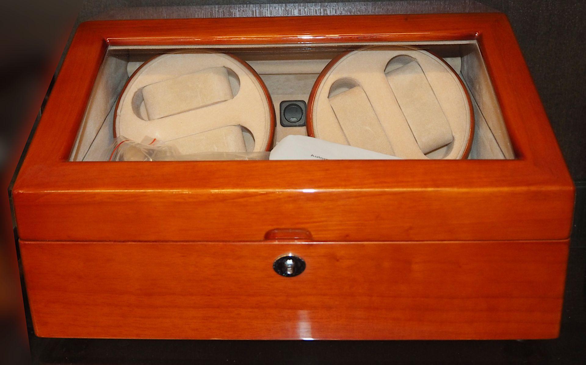 """1 Uhrenbeweger ROBERT Modell: """"WA058"""", Holz mit Glaseinsatz 4 Dreh- und 6 Aufbewahrung - Bild 3 aus 3"""