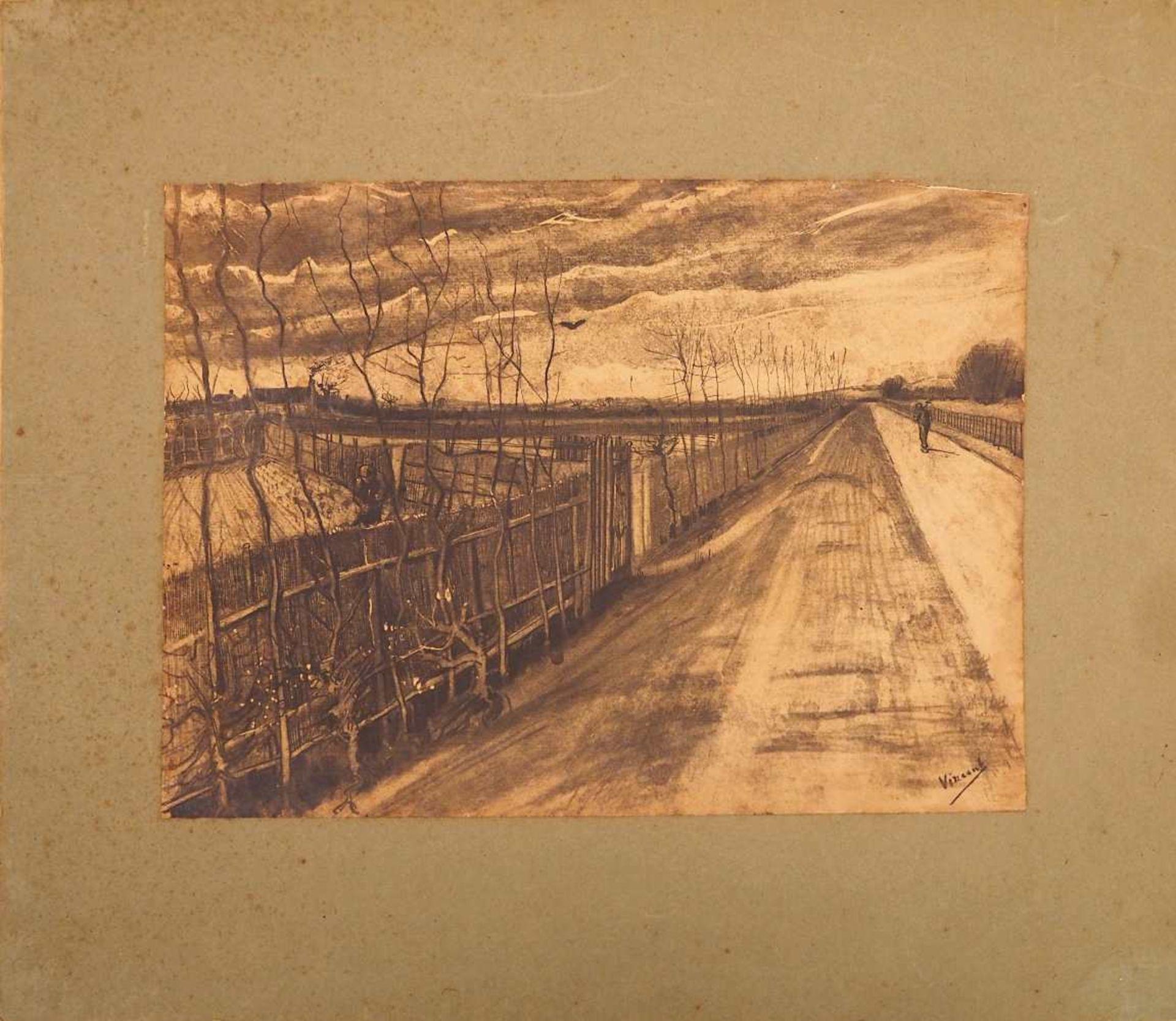 """1 Isographie """"Feldweg mit Bauern""""/rücks. wohl niederländisch bez. """"Die Gärten des Kaplans"""" R. - Bild 4 aus 6"""