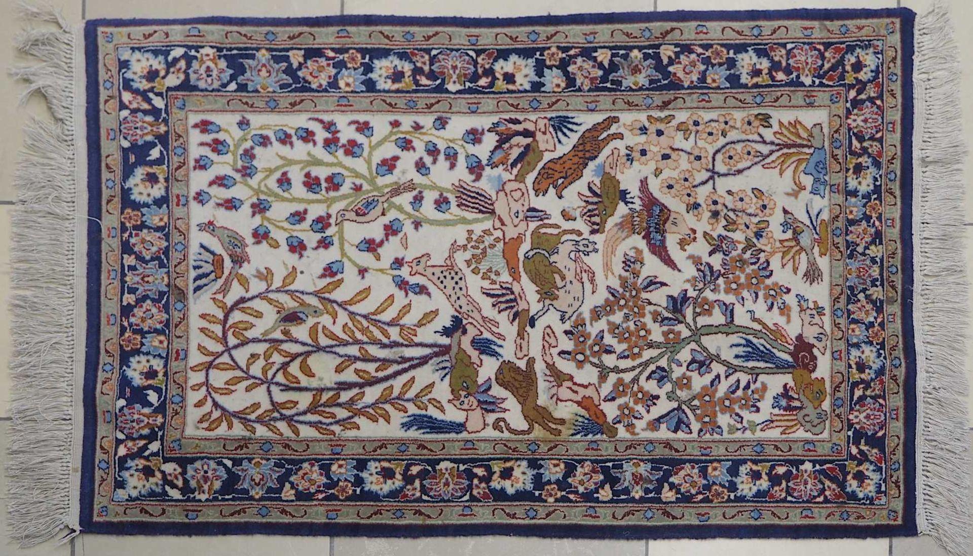 1 Konv. Teppiche 20. Jh.: Mittelfeld beigegrundig, Randbordüre rotgrundig, je florale - Bild 3 aus 7