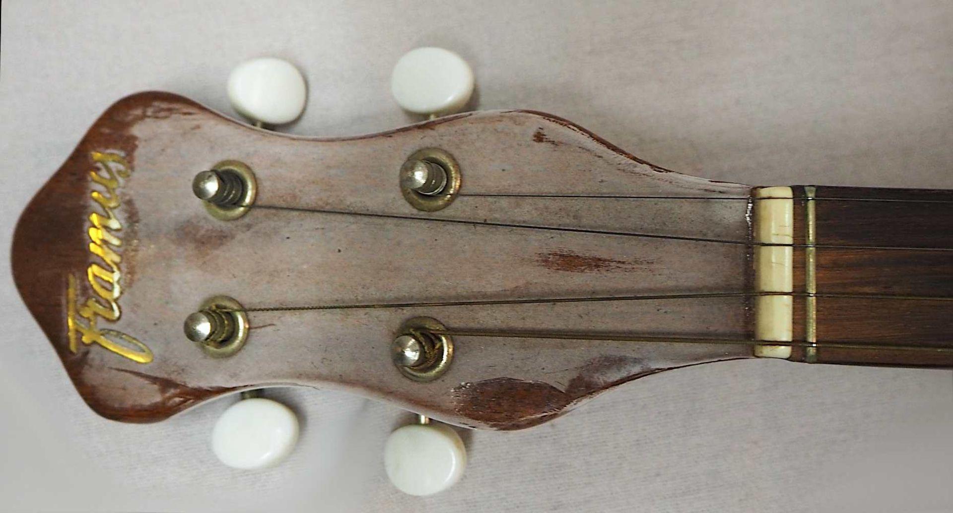 1 Banjo auf Resonanzfell/Kopfplatte bez. FRAMUS, wohl 1960er Jahre 4-saitig, mit Metal - Bild 3 aus 5