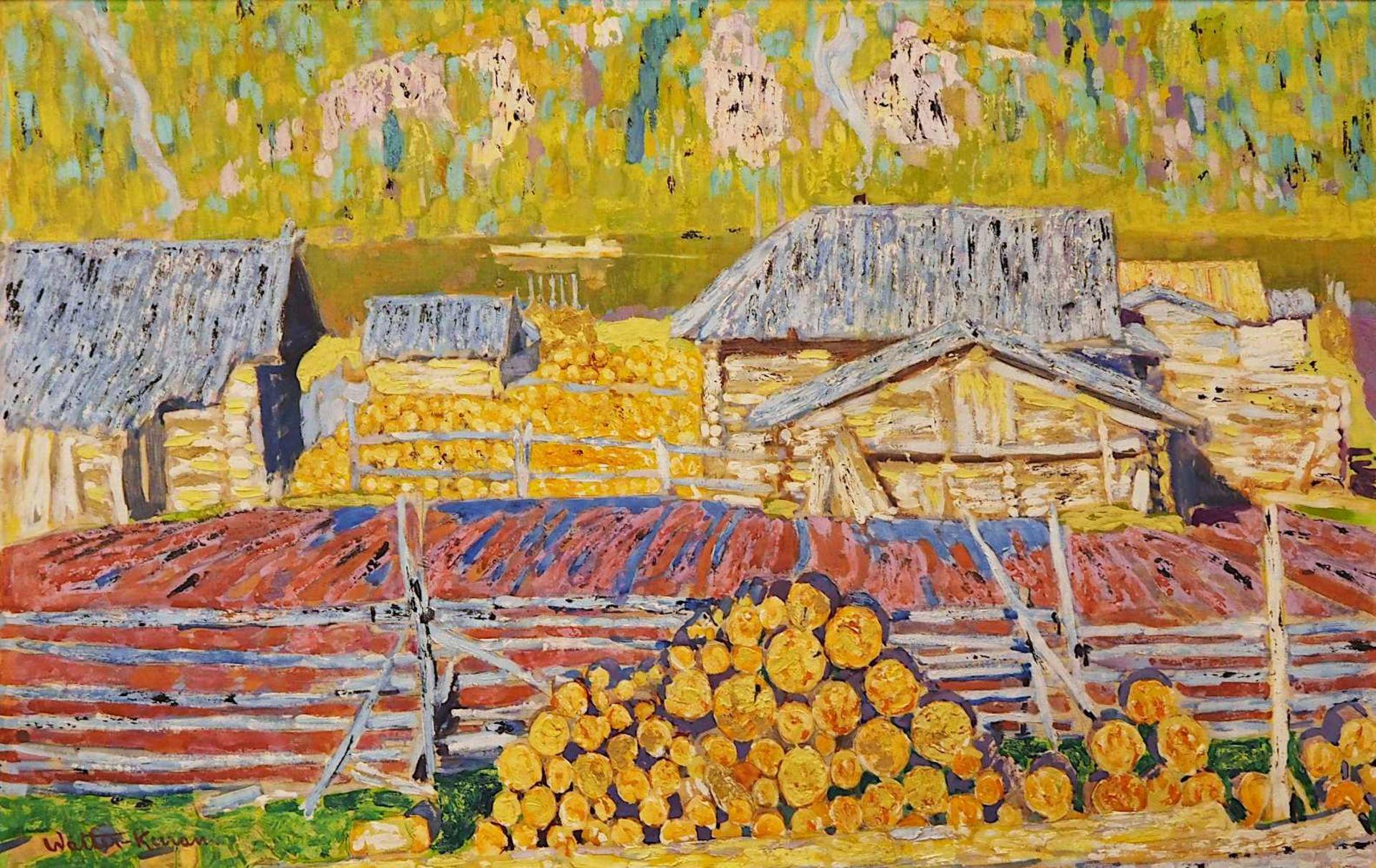 "1 Ölgemälde ""Landschaft mit Sägewerk"" L.u. bez. Walter KURAU (wohl 20. Jh.) Öl/Lwd"