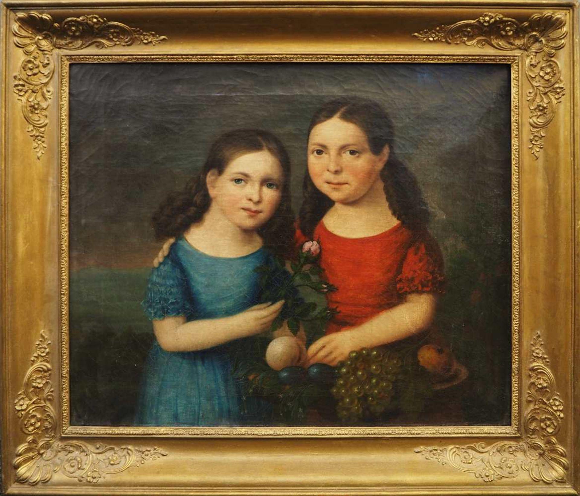 """1 Ölgemälde """"Geschwisterpaar mit Früchtekorb, Vergissmeinnicht und Rose"""" unsign. wohl Biederm - Bild 2 aus 3"""