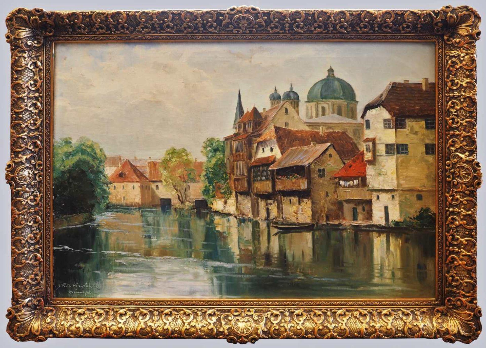 """1 Ölgemälde L.u. sign. Rolf KNOBLOCH (wohl 1891-1964), """"Ansicht von Alt-Nürnberg mit Synagoge - Bild 2 aus 5"""