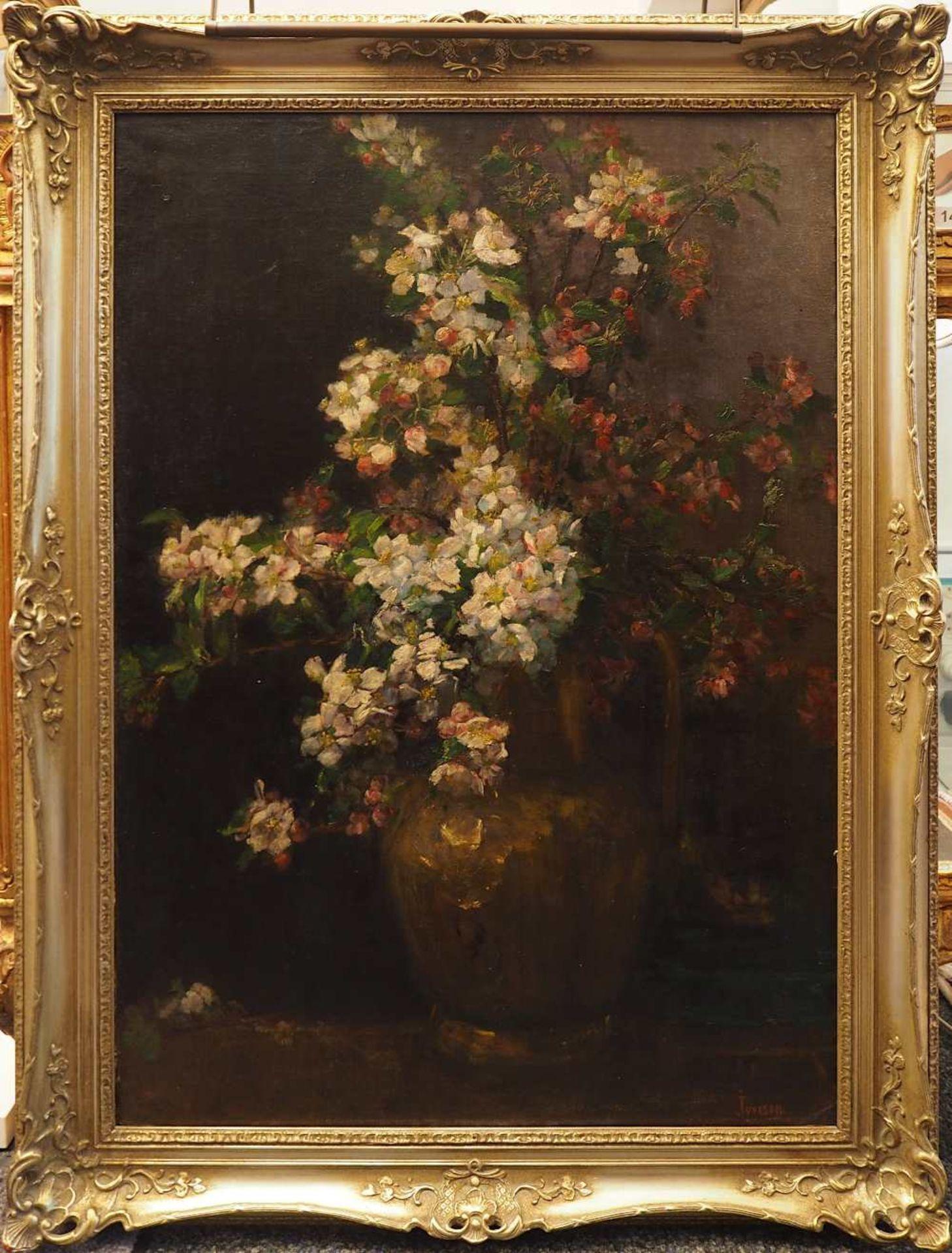 """1 Ölgemälde R.u. sign. IVERSEN (wohl Helene I. 1870 bis ca. 1930), """"Stillleben mit Apfelblüte - Bild 2 aus 8"""