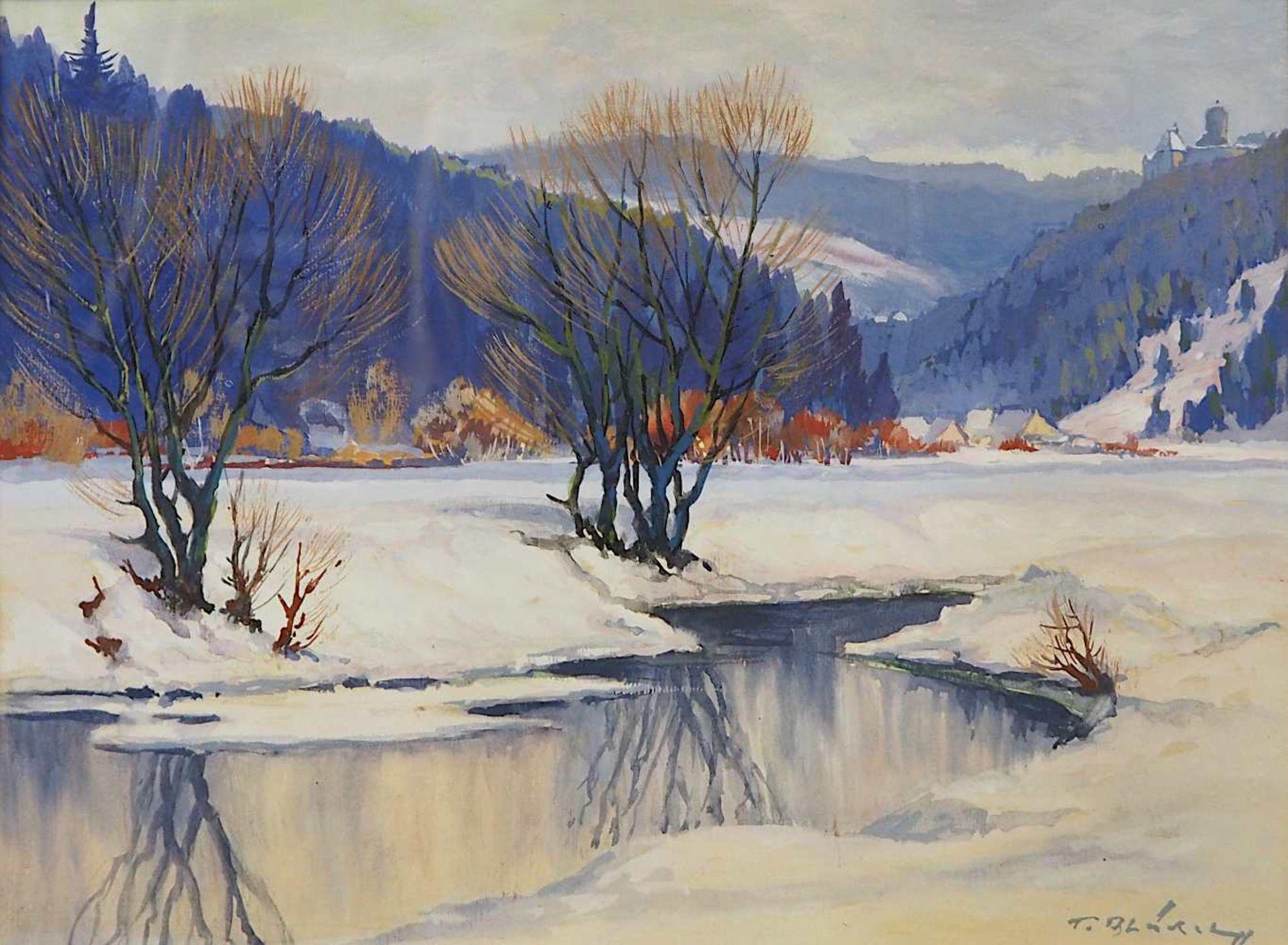 """1 Gouache R.u. sign. F. BLÄDEL (wohl Fritz B. 1903-1950), """"Burgthann im Winter"""", ca."""