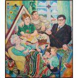 """1 Ölgemälde """"Besuch bei Familie Nodnagel"""" L.o. monogr. PN (wohl Paul Heinreich NODNA"""
