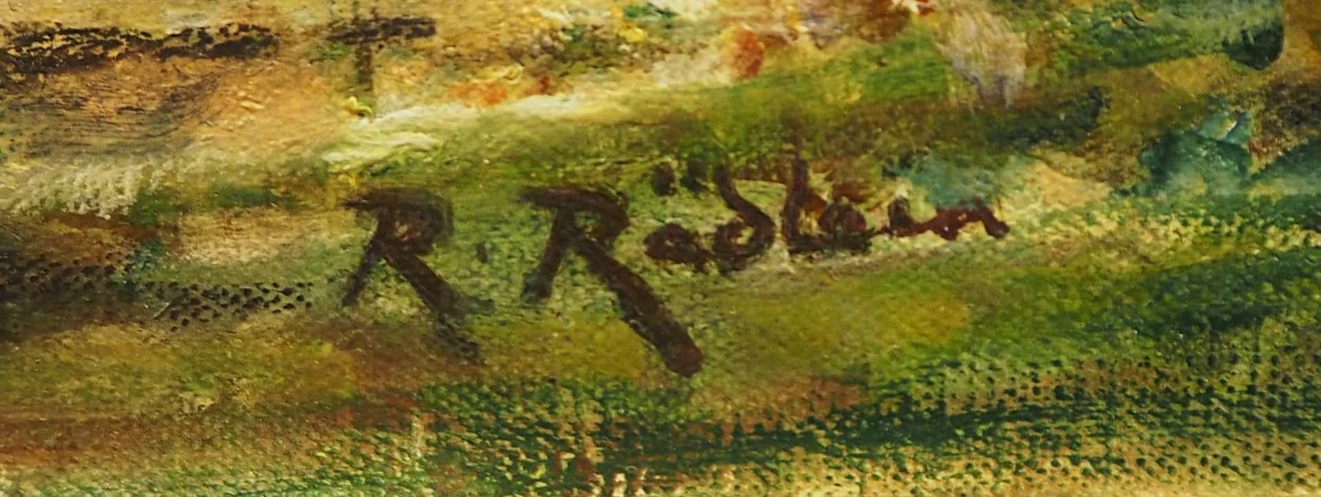 """1 Ölgemälde """"Beschauliche Dorfszenerie"""" R.u. sign. R. RÄDLEIN (wohl Rudolf R. 1858- - Bild 3 aus 4"""
