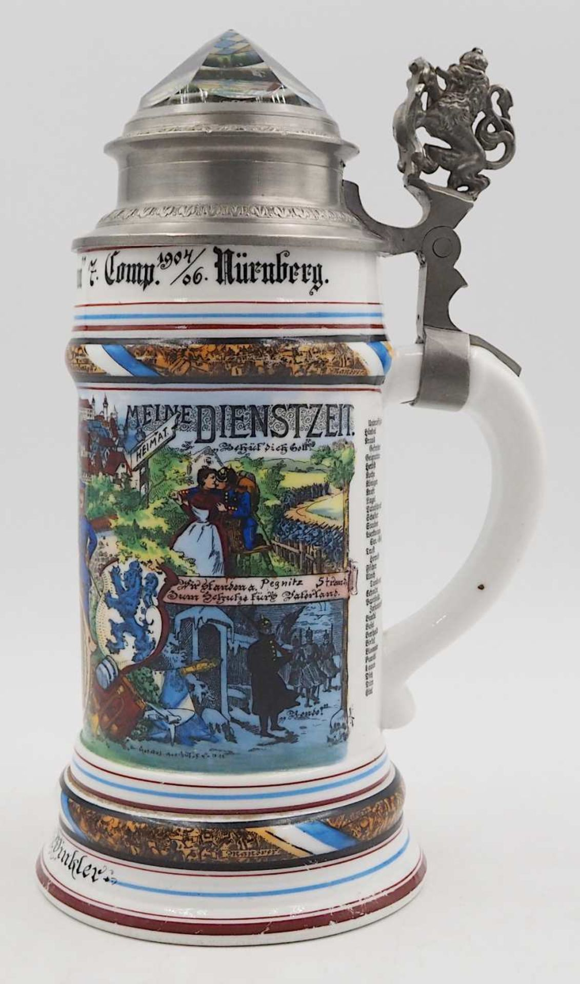 """1 Reservistenkrug """"Kgl. bayr. 14. Inft. Regt. """"Hartmann"""" 7. Comp. Nürnberg 1904-06"""" W - Bild 3 aus 6"""