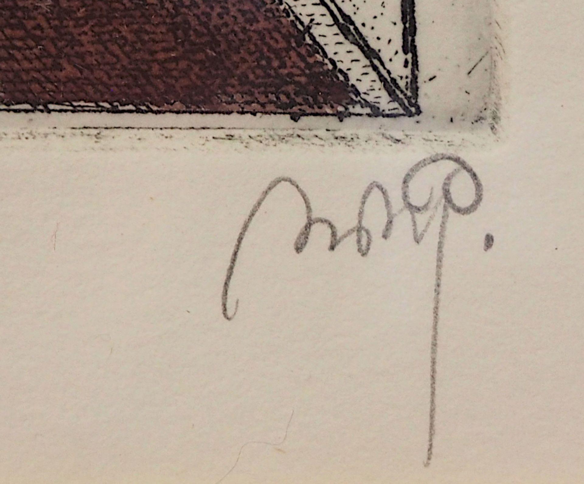 """1 Farbradierung R.u. bleistiftsign. M. M. PRECHTL (wohl Michael Mathias P. 1926-2003), """"Minz und - Bild 2 aus 5"""