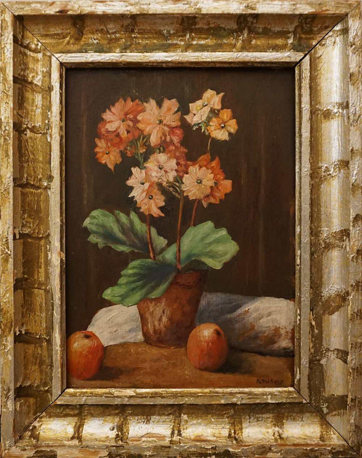 """1 Ölgemälde """"Blumenstillleben mit Orangen"""" R.u. schwer lesbar sign. (wohl 20. Jh.) Öl/Platte, ca. - Bild 2 aus 4"""
