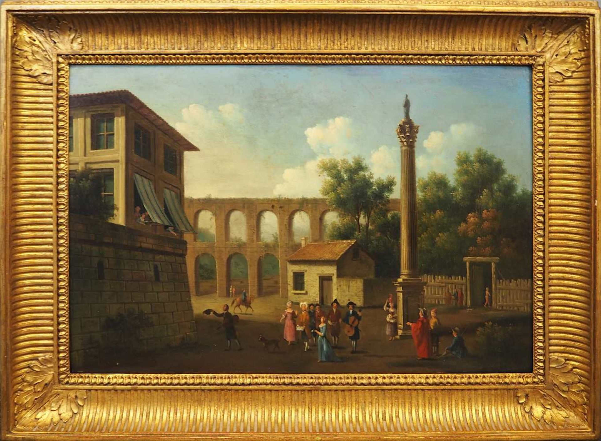 "1 Ölgemälde L.u. sign. P.J. PETIT (wohl Pierre-Joseph P. 1768-1825),""Musikabend im Freien"",</b - Bild 2 aus 4"
