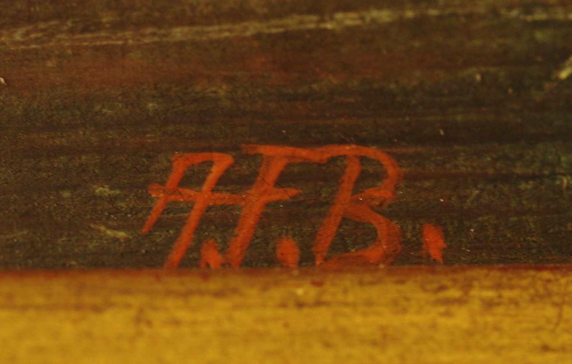 """1 Ölgemälde 20.Jh., R.u. monogr.""""A.F.B."""", """"Eisvergnügen vor Stadtkulisse"""", Öl/Holz - Bild 4 aus 4"""