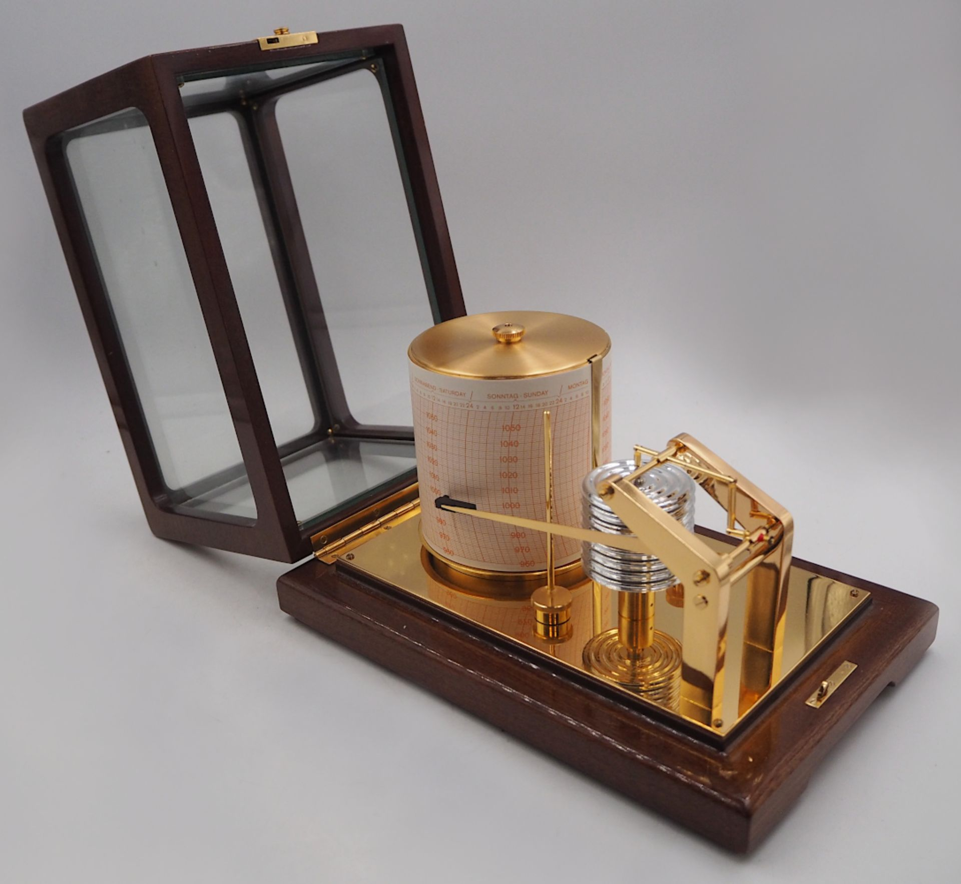 1 Trommelbarograph WEMPE CHRONOMETERWERKE GmbH, 20. Jh. wohl Mahagoni-Gehäuse allseit