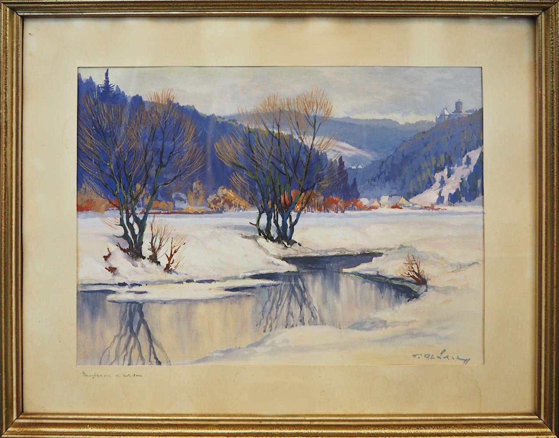 """1 Gouache R.u. sign. F. BLÄDEL (wohl Fritz B. 1903-1950), """"Burgthann im Winter"""", ca. - Bild 2 aus 5"""