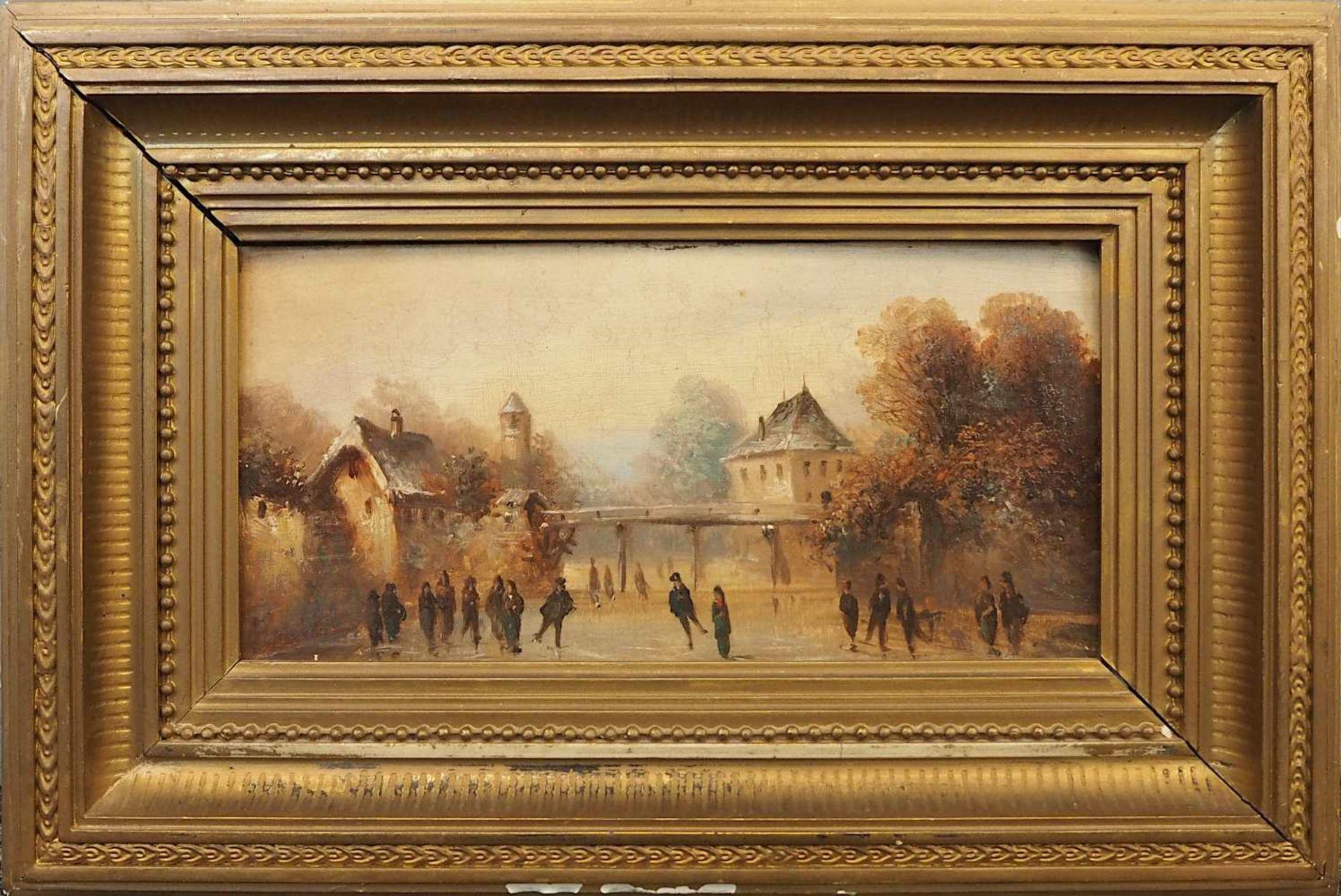 "1 Ölgemälde unsign. wohl um 1900, ""Eisvergnügen"", Öl/Platte, ca. 12x25,5cm, Craque - Bild 2 aus 3"