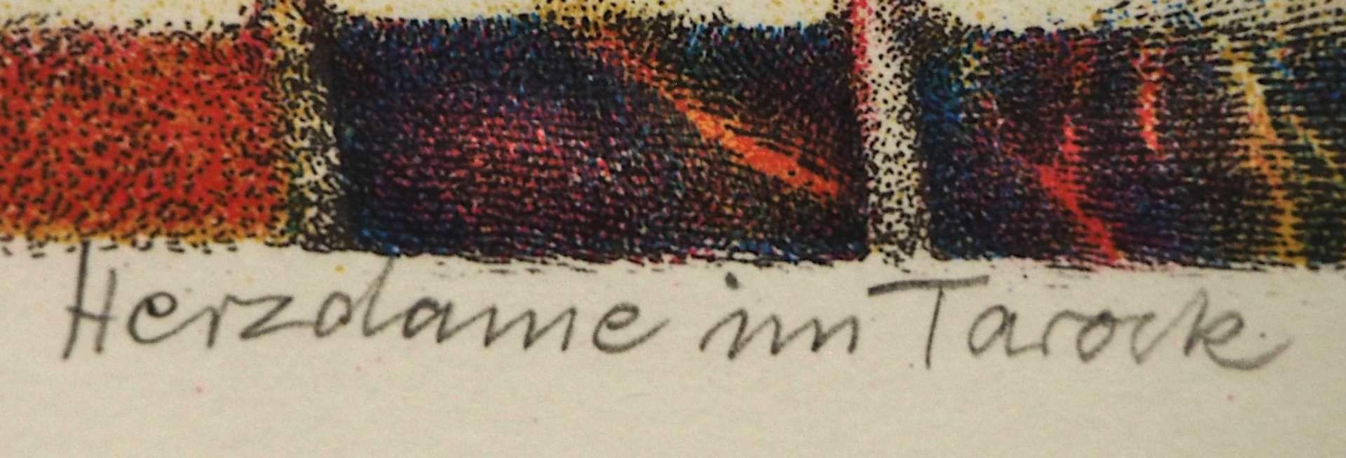 """1 Farblithografie R.u. bleistiftsign. M. M. PRECHTL (wohl Michael Mathias P. 1926-2003), """"Herzda - Bild 4 aus 5"""