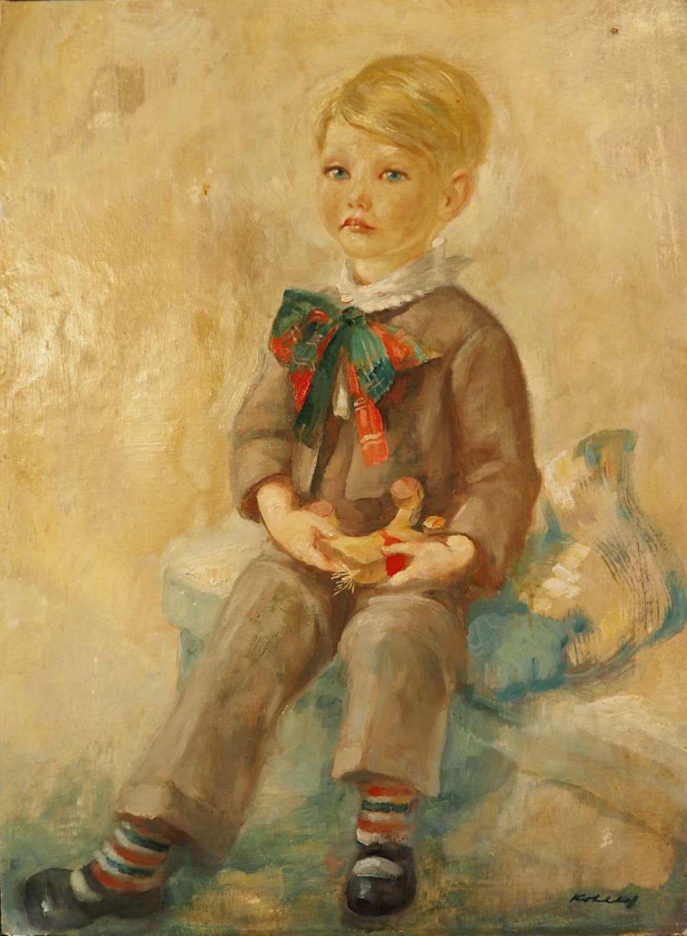 """1 Ölgemälde """"Junge mit Holzpferd"""" R.u. sign. KOHLHOFF (wohl Wilhelm K. 1893-1971) lt"""