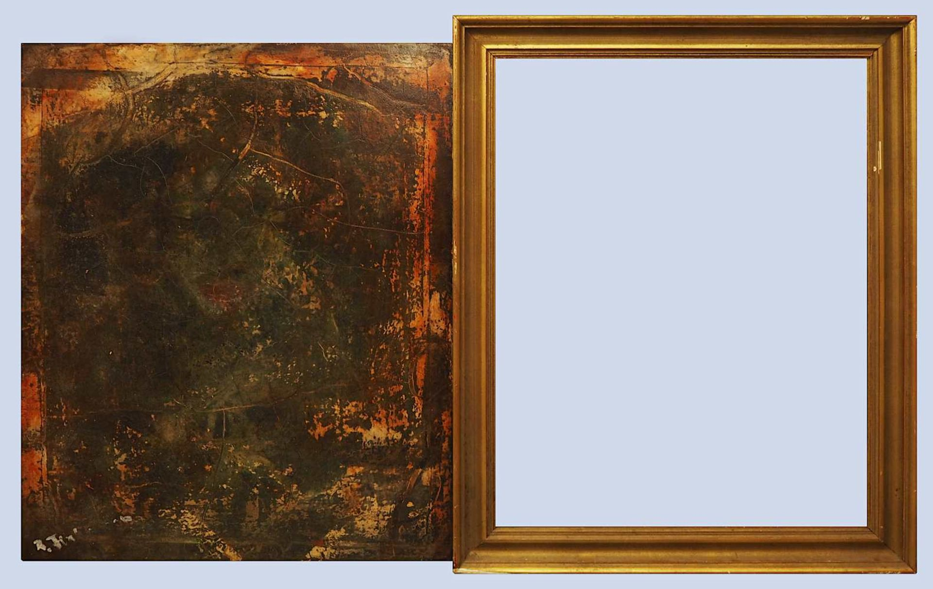 """1 Konv. Ölgemälde/Aquarelle u.a., verschiedener Künstler, 20. Jh.: 2x """"Ohne Titel"""" - Bild 2 aus 9"""