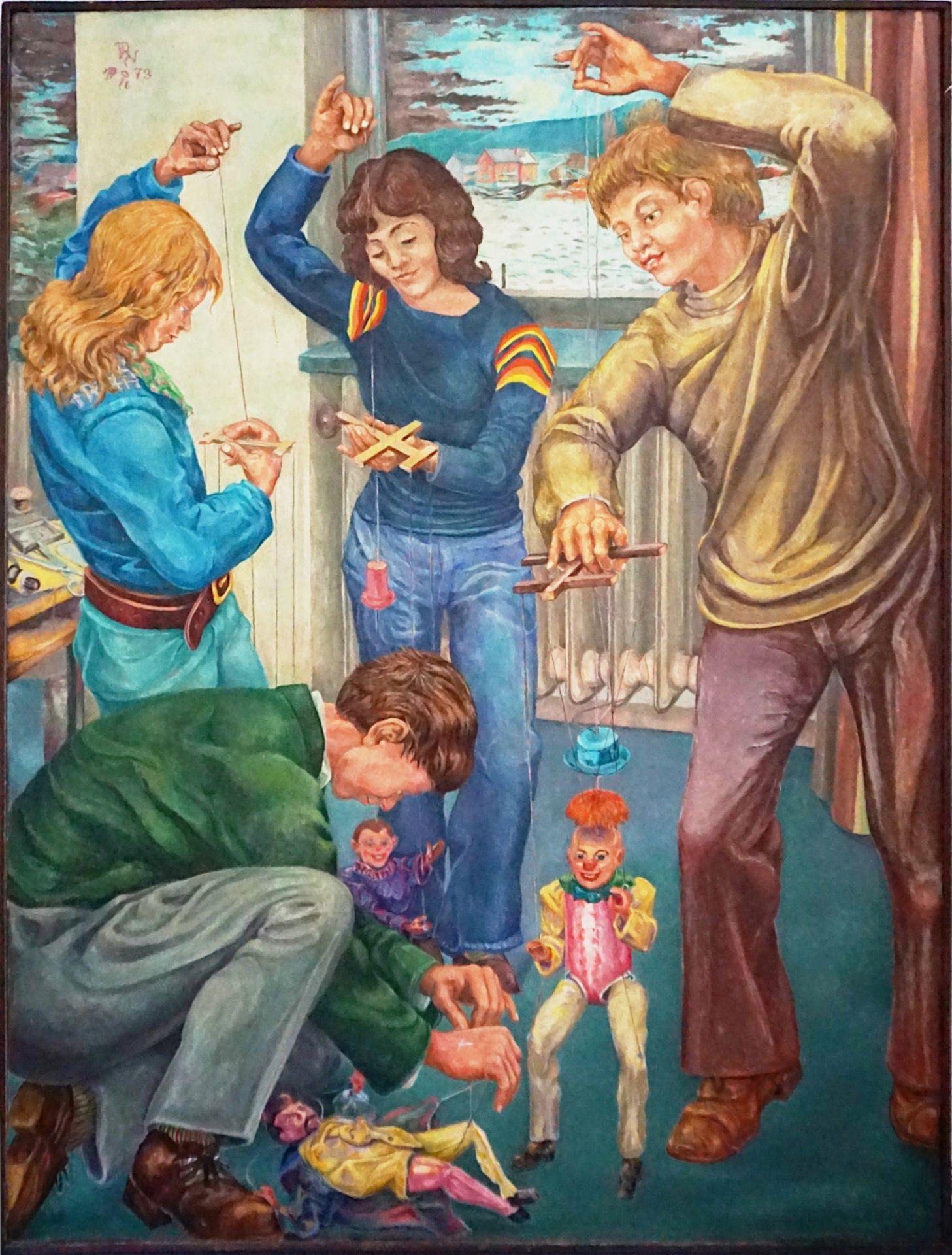"1 Ölgemälde ""Marionettenspieler"" L.o. monor. PN (wohl Paul Heinreich NODNAGEL 1928-2"