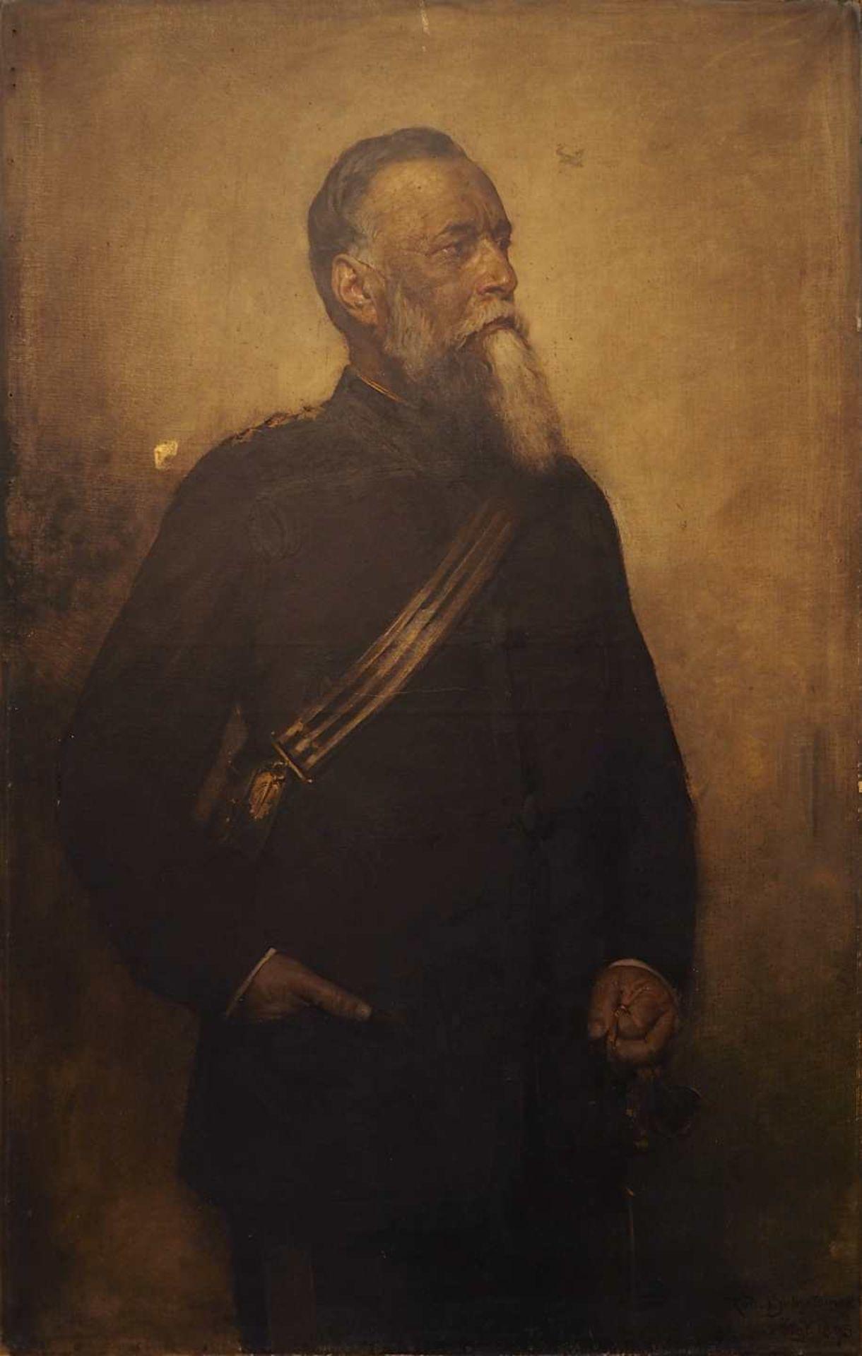 """1 Ölgemälde """"Portrait eines Generals mit Munitionstasche und Paradesäbel"""" R.u. sign."""