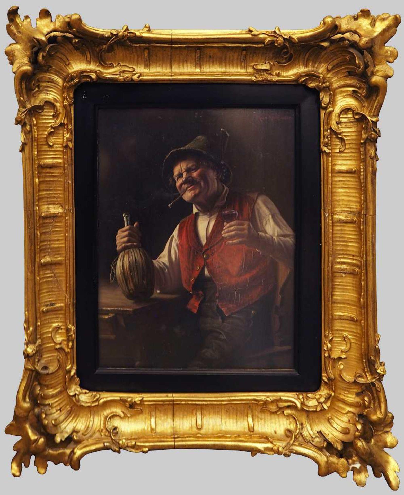 """1 Ölgemälde """"Tiroler Bauer mit Korbflasche"""" R.o. sign. Max KAUFFMANN (wohl 1846-1913 - Bild 2 aus 5"""