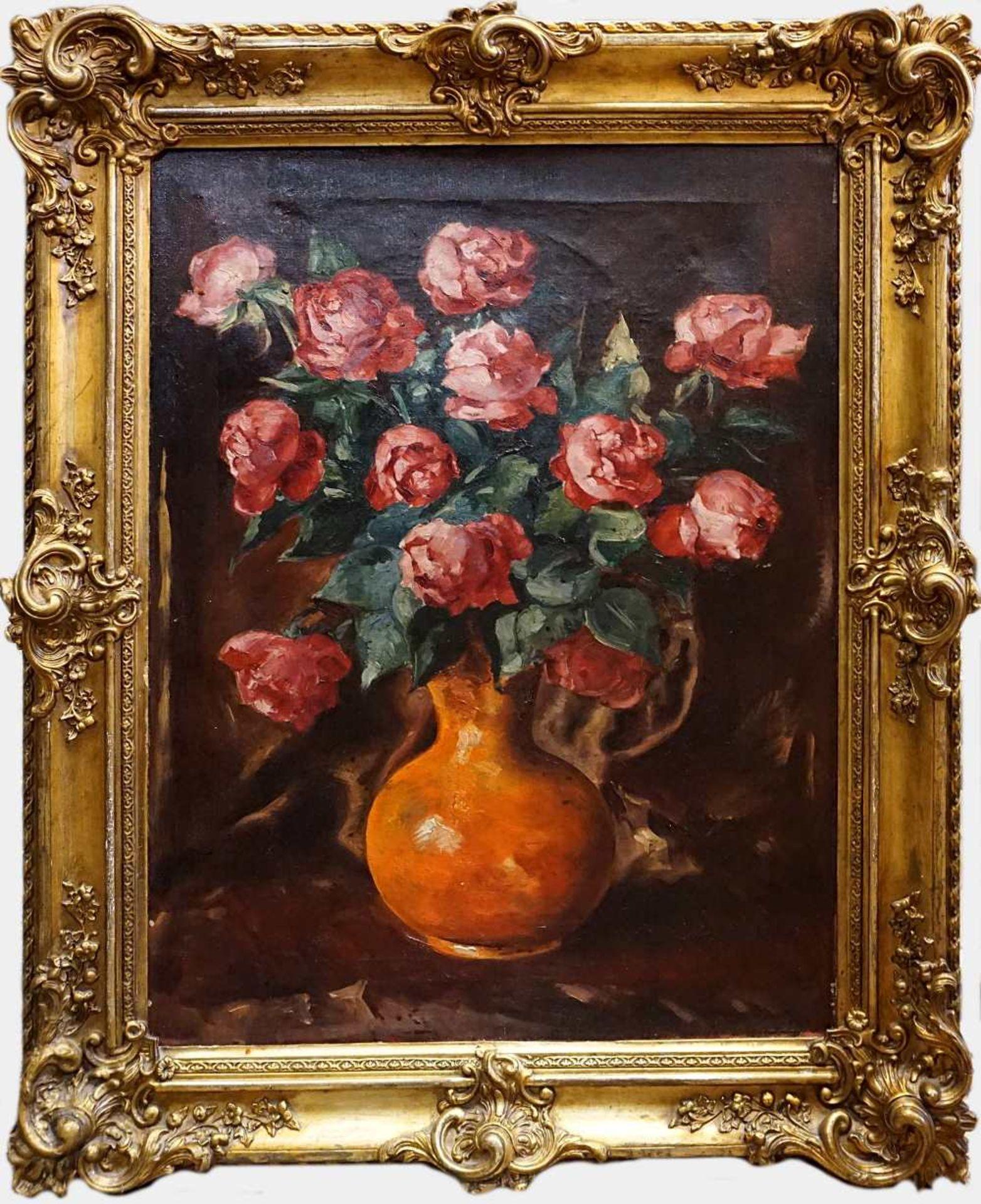 """3 Ölgemälde """"Blumenstillleben"""" z.T. sign. W. JUNCK (wohl 20. Jh.) je Öl/Lwd. ca. 10 - Bild 4 aus 6"""