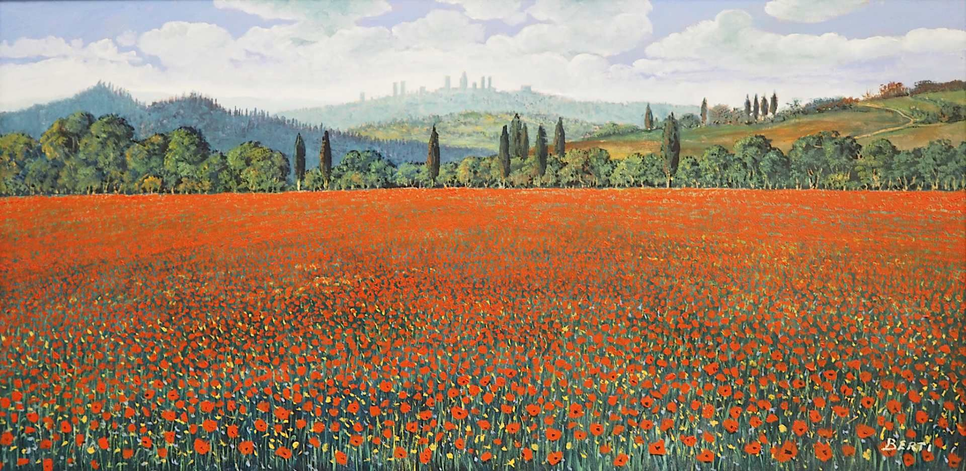 "1 Ölgemälde ""Campo di Papaveri in Toscana"" R.u. sign. BERTI (wohl Antonio B. 1904-19"