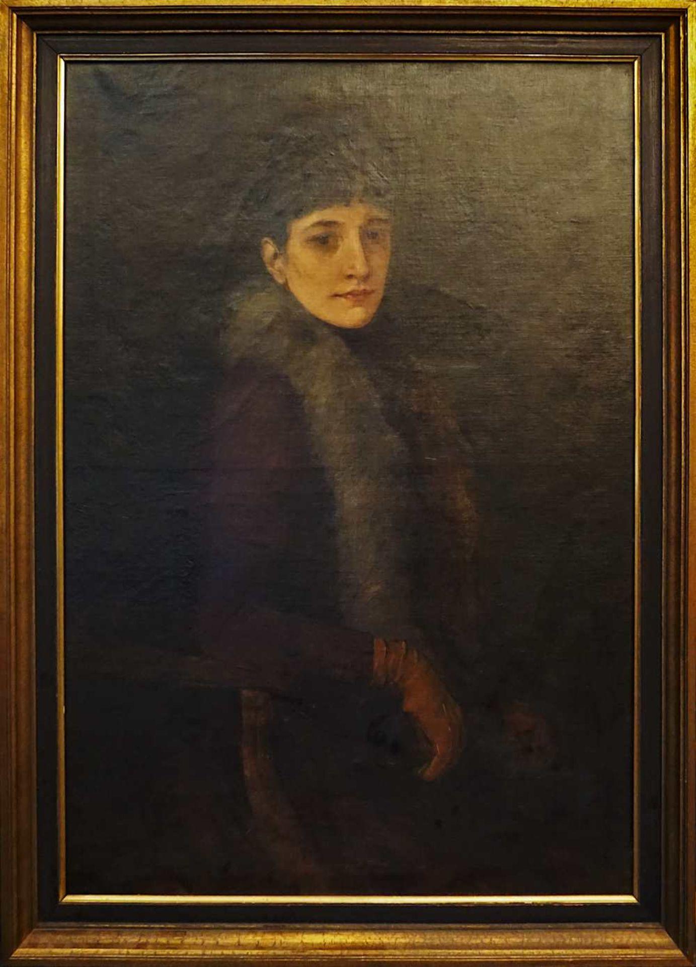 "1 Ölgemälde ""Dame mit Pelzschal"" L.o. sign. G. HAID (wohl Georg H. 1861-1935) R.o. w"