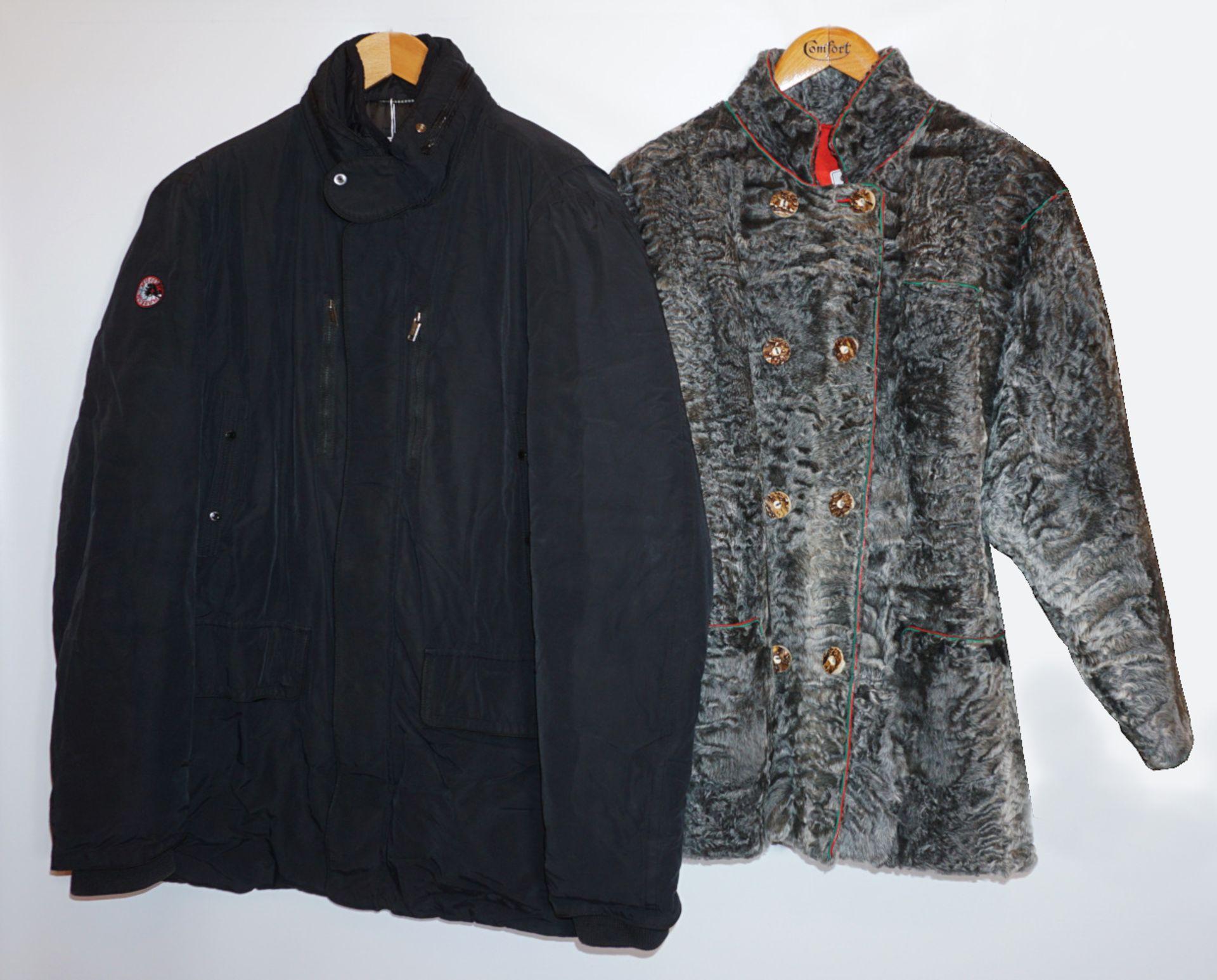6 Jacken/Mäntel Pelz Textil u.a. Persianer, Lamm z.T. geschoren je Tsp.