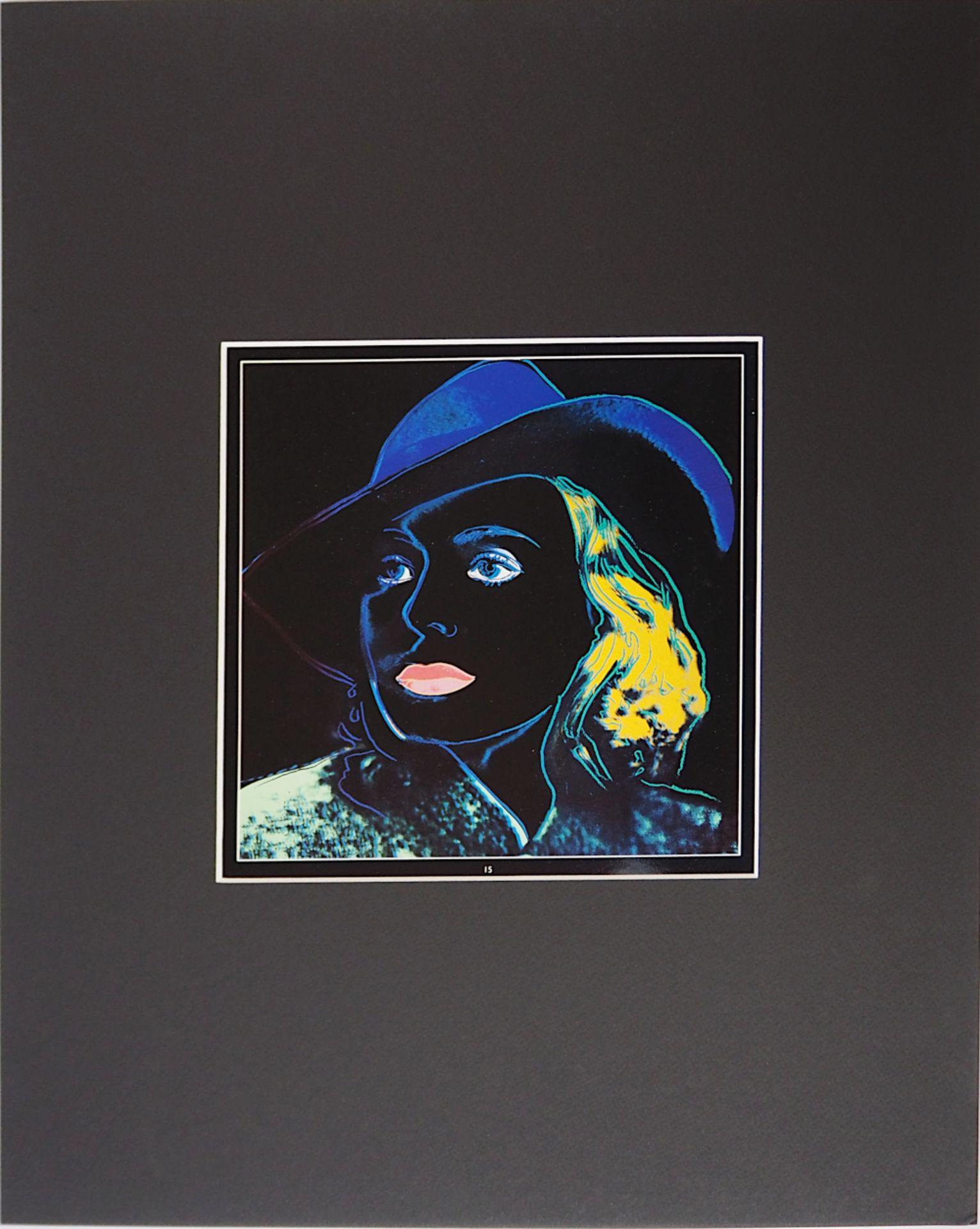 """1 Farboffsetdruck """"Portrait von Ingrid Bergmann"""" rücks. zugeschrieben Andy WARHOL (wo"""