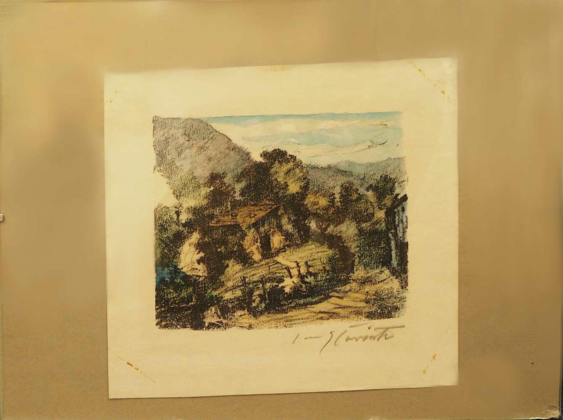 """1 Farblithografie bleistiftsign. CORINTH (wohl Lovis C. 1858-1925), """"Hütte am Walchensee"""", - Bild 2 aus 3"""