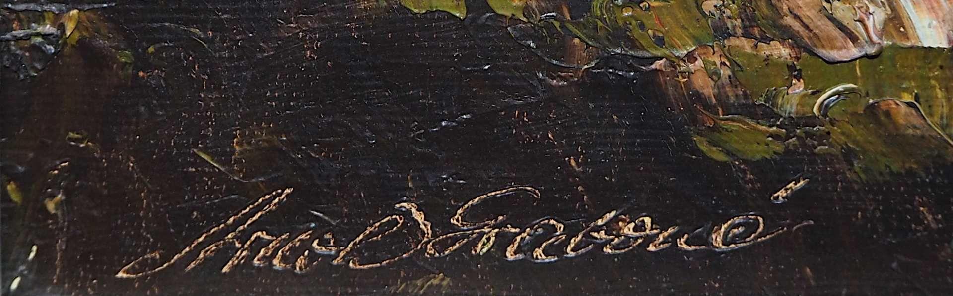 "1 Ölgemälde ""Morgenstimmung im Gebirge"" L.u. sign. ARNOLD-GRABONÉ (wohl Georg A.-G. - Bild 3 aus 4"