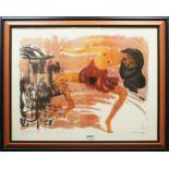 """1 Farbdruck der """"Tänzerin"""" von Emil NOLDE (wohl 1867-1956) von 1913 ca. 52x66cm, RhG,"""