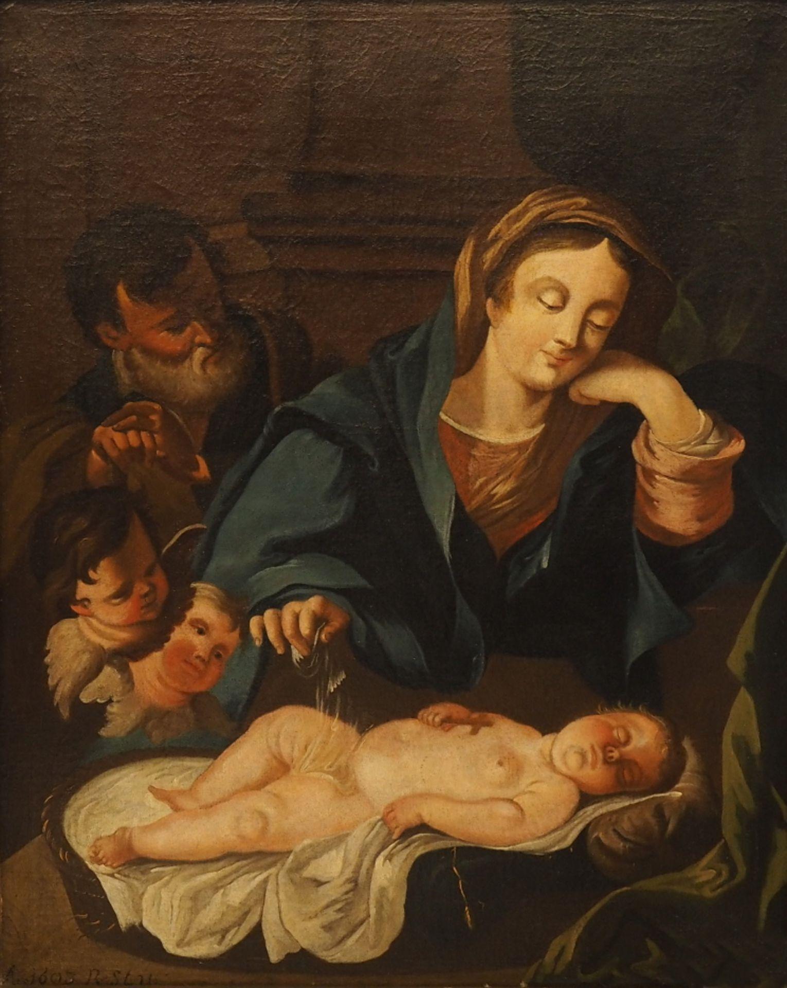 "1 Ölgemälde ""Heilige Familie"" L.u. bez./dat./monogr. ""1693 R. STU..."", Öl/Lwd., dou"